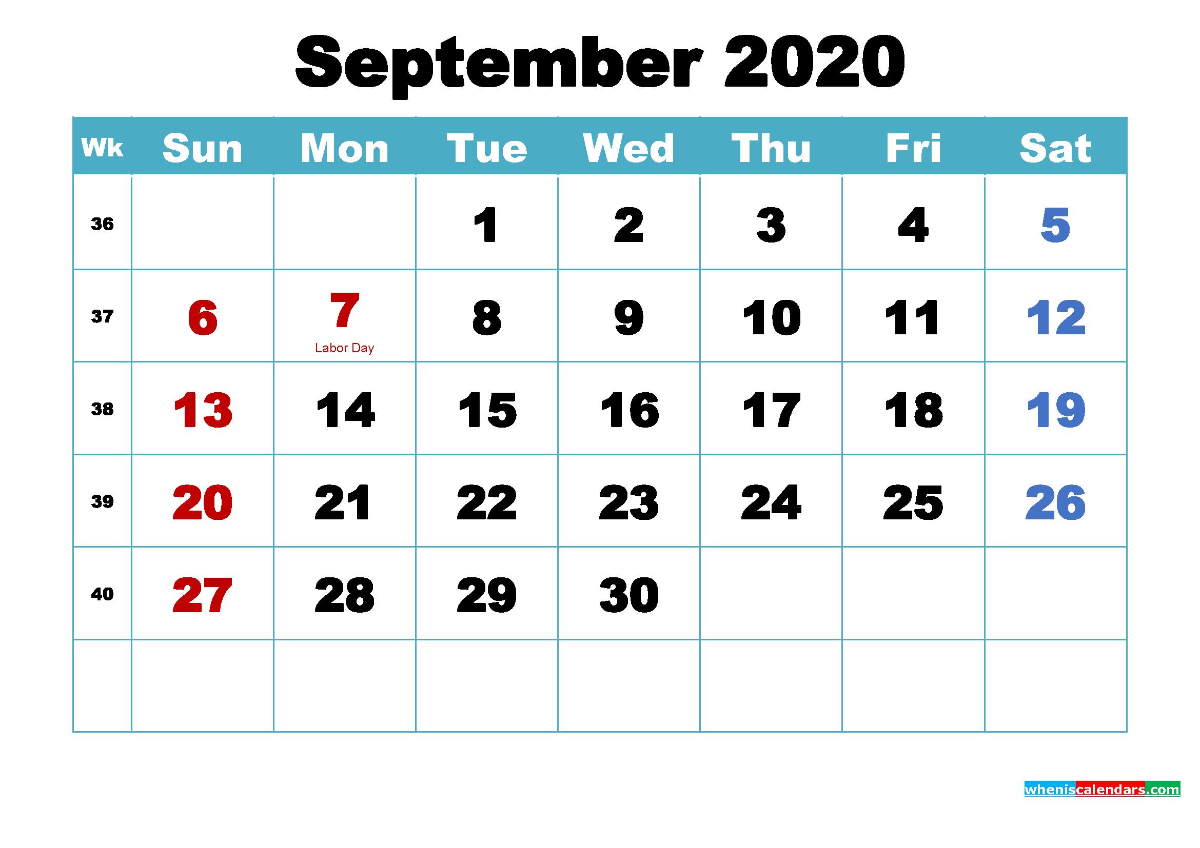 Printable September 2020 Calendar by Month