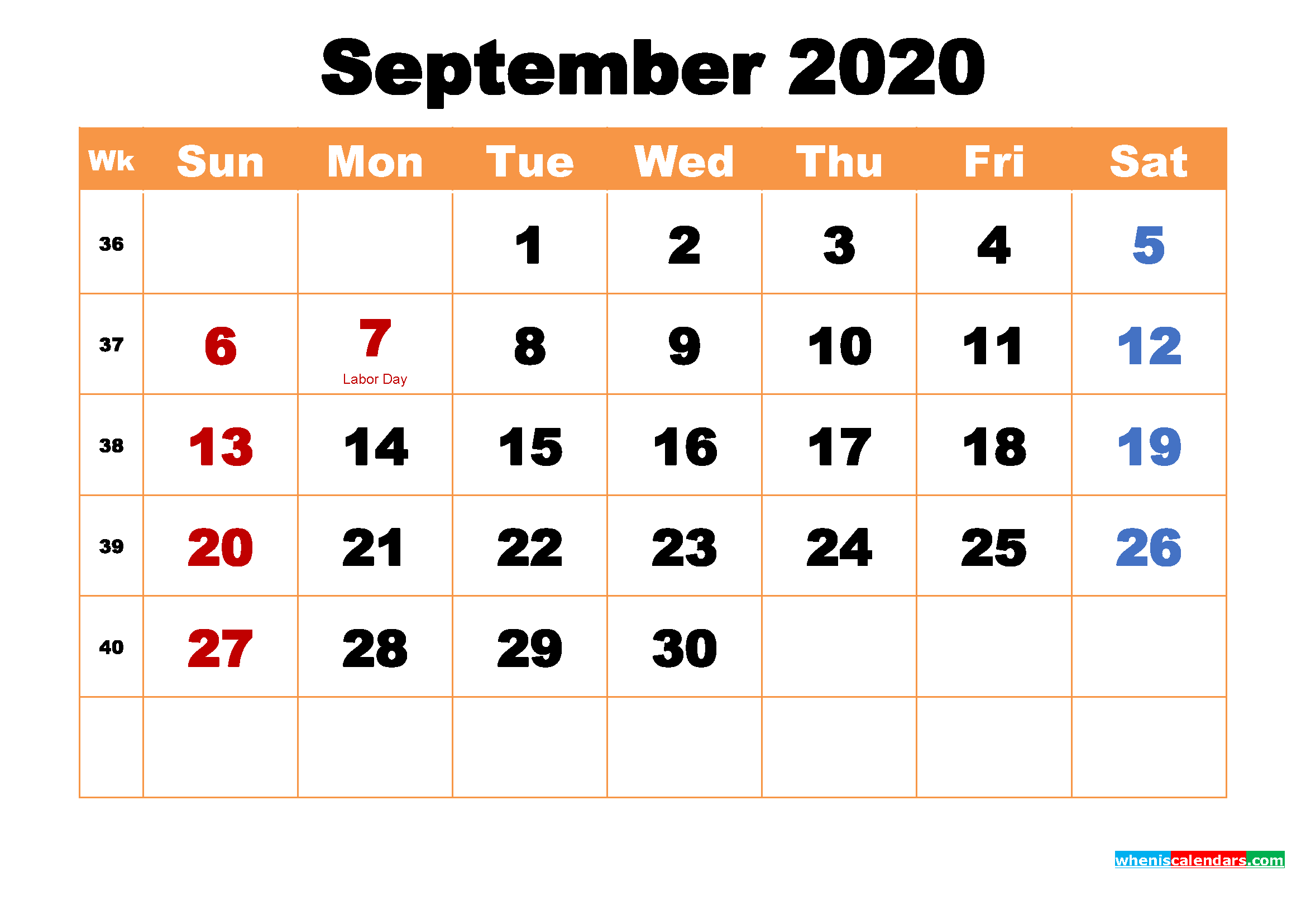 September 2020 Printable Monthly Calendar with Holidays ...