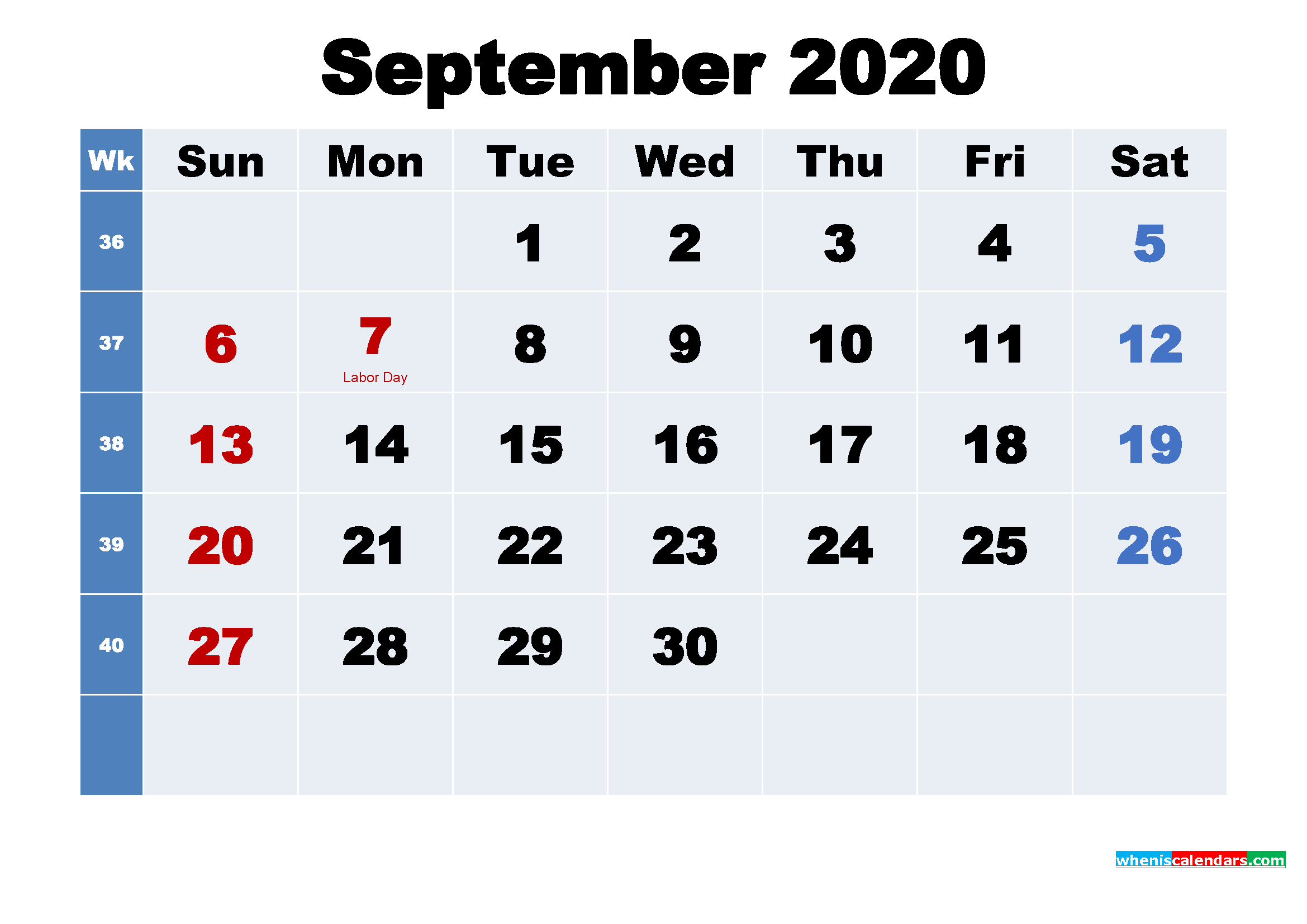 Free Printable September 2020 Calendar Wallpaper