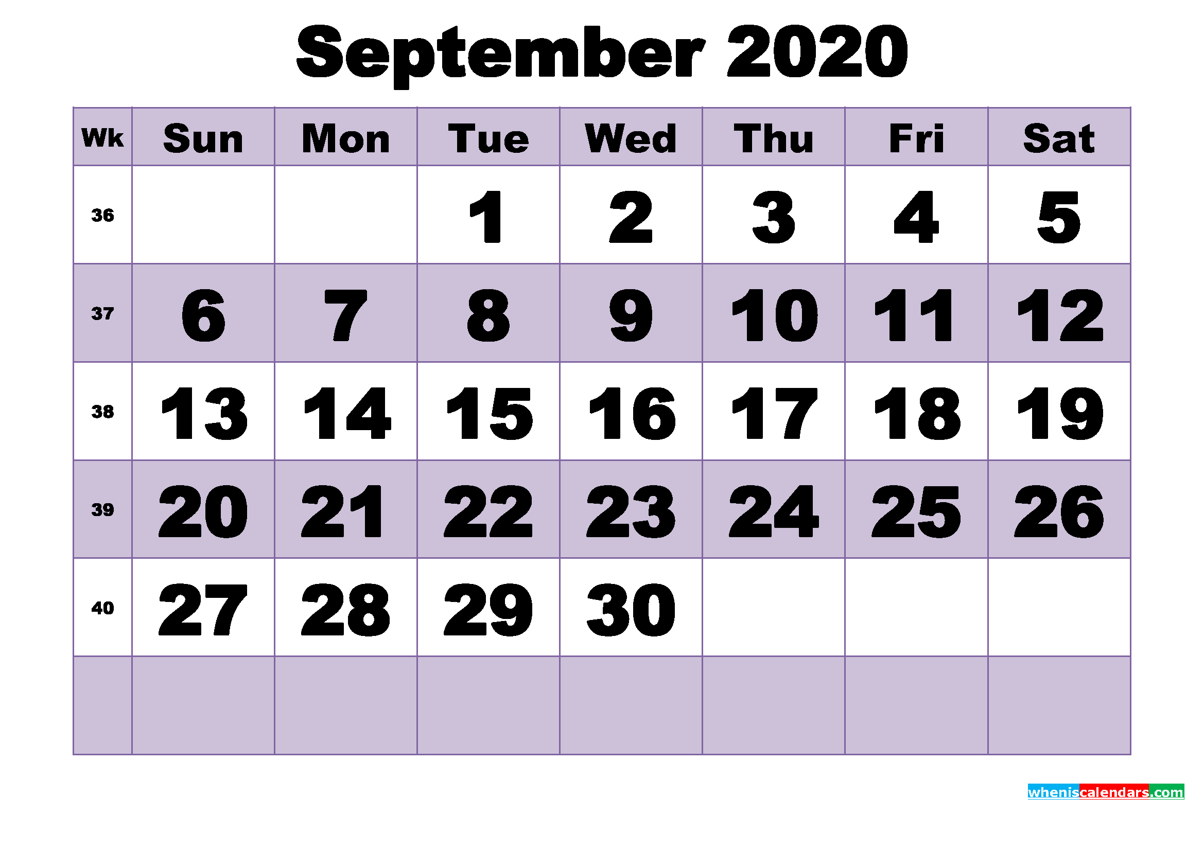 Free September 2020 Printable Monthly Calendar Template