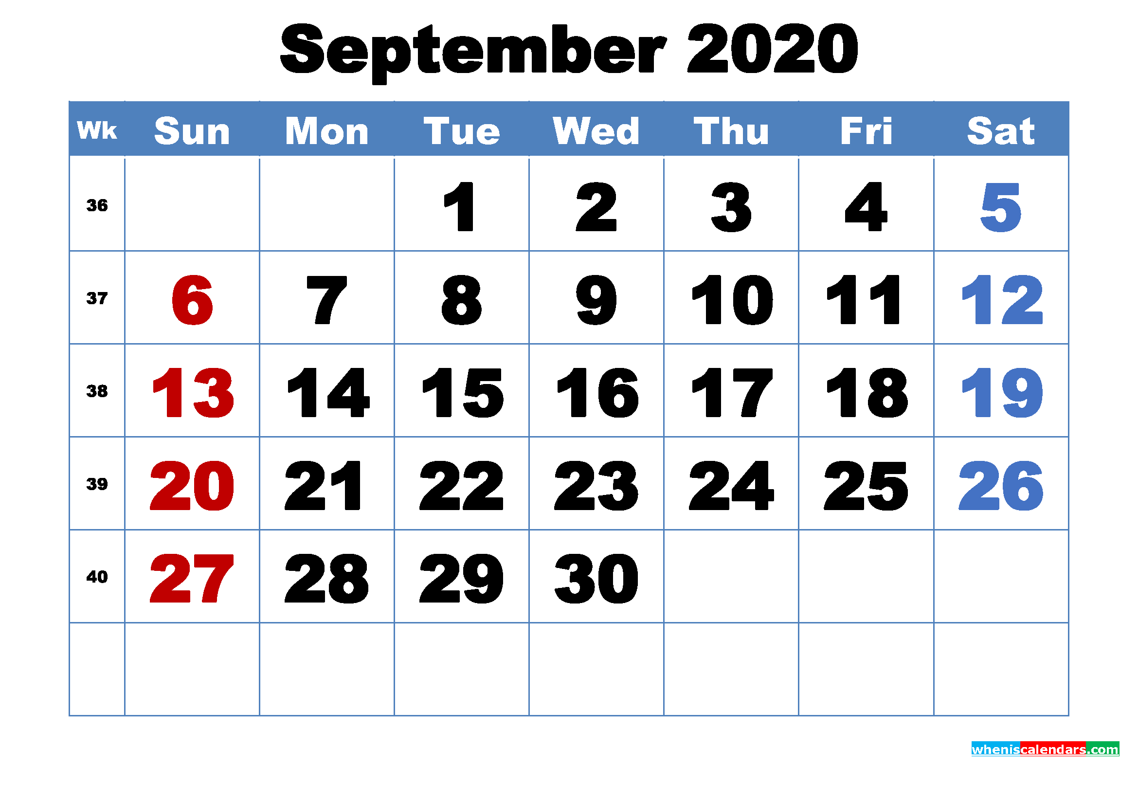 Free Printable September 2020 Calendar Template Word, PDF