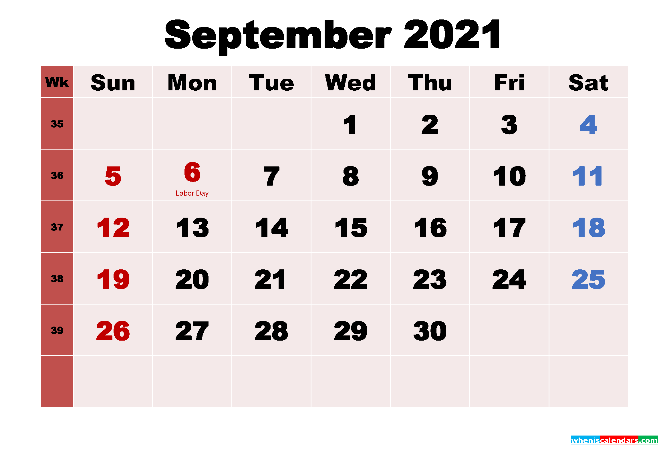 September 2021 Desktop Calendar Monthly