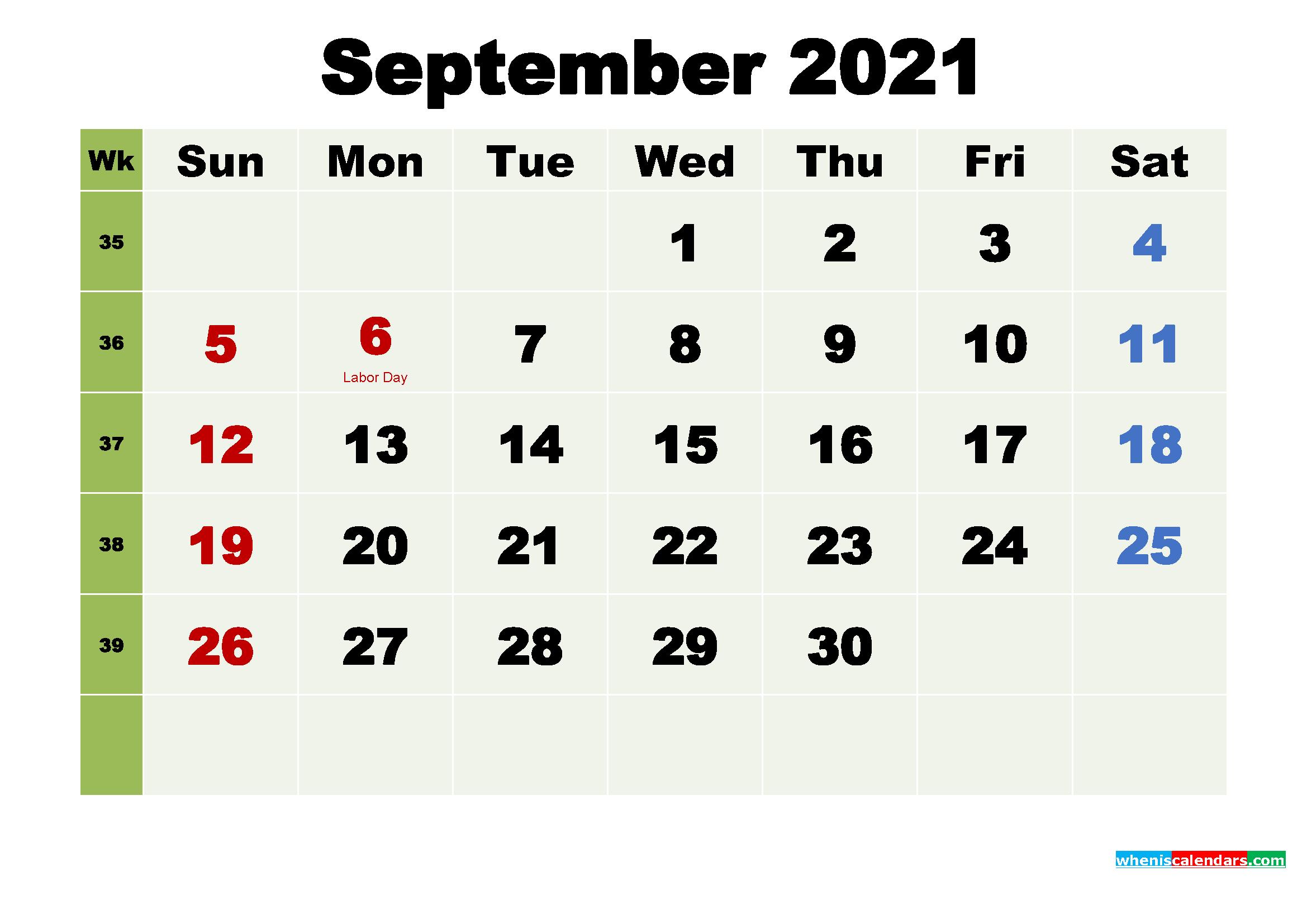 Printable Calendar September 2021 with Holidays as Word, PDF