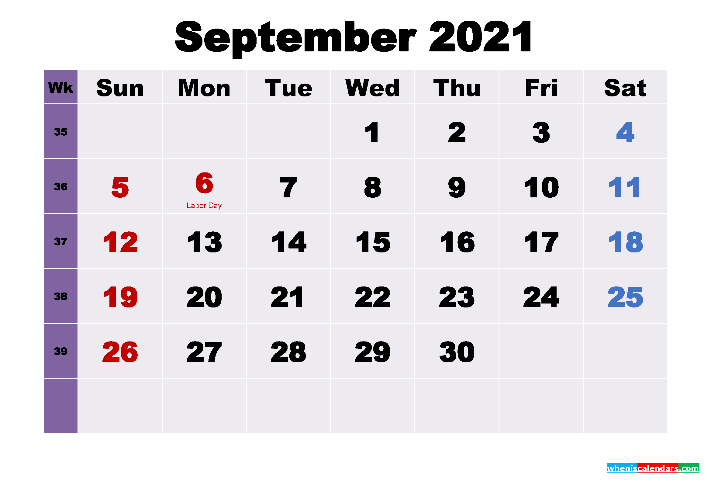 Printable September 2021 Calendar with Holidays Word, PDF