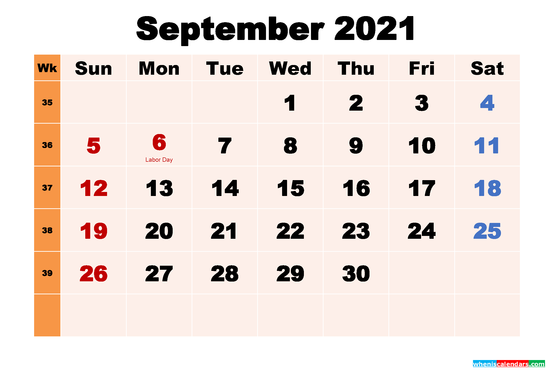 September 2021 Printable Calendar with Holidays Word, PDF