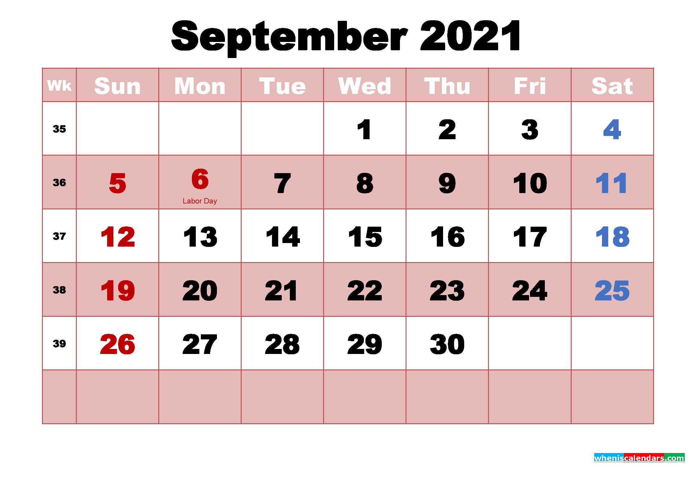 September 2021 Printable Monthly Calendar with Holidays