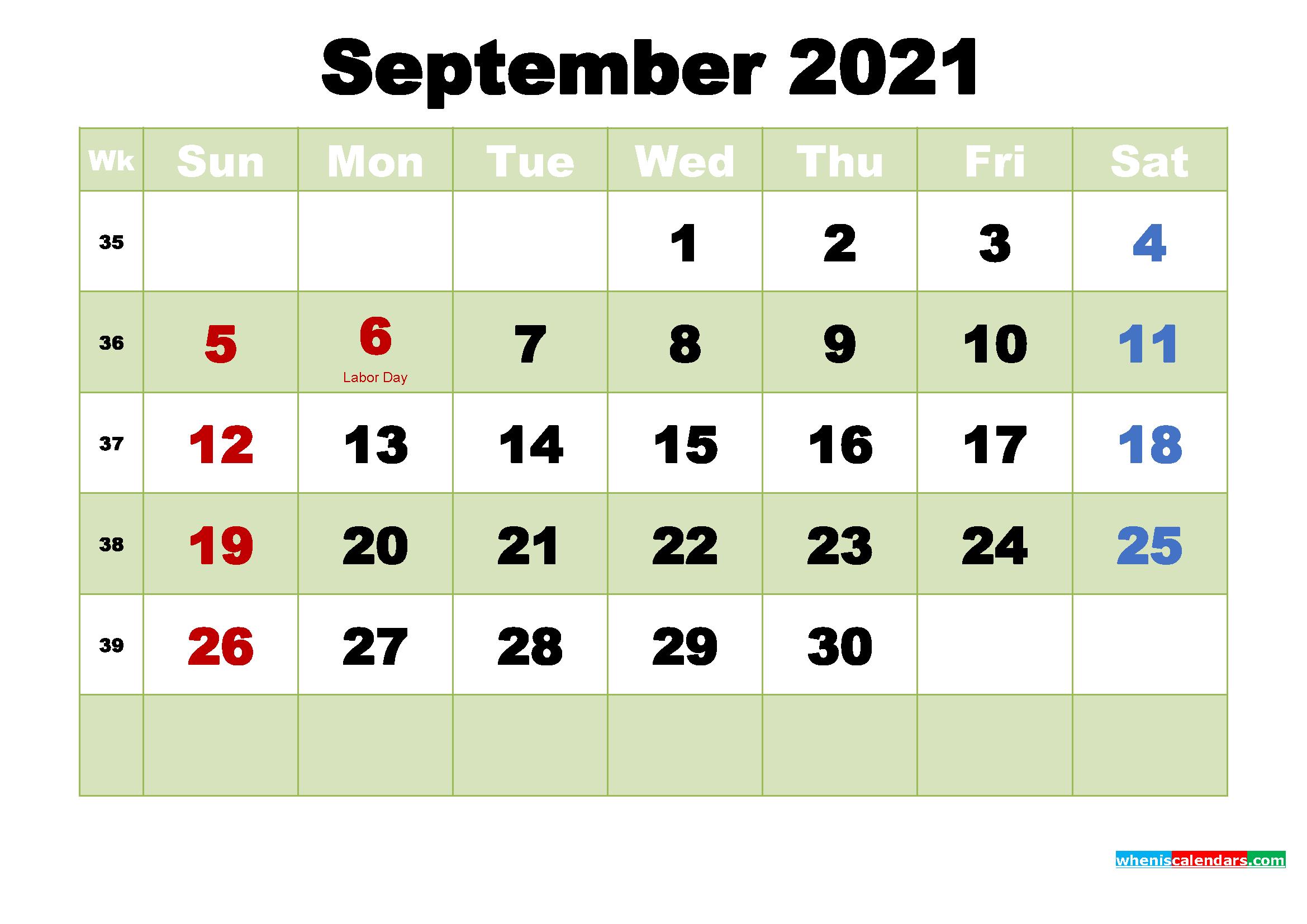 Printable 2021 Calendar by Month September