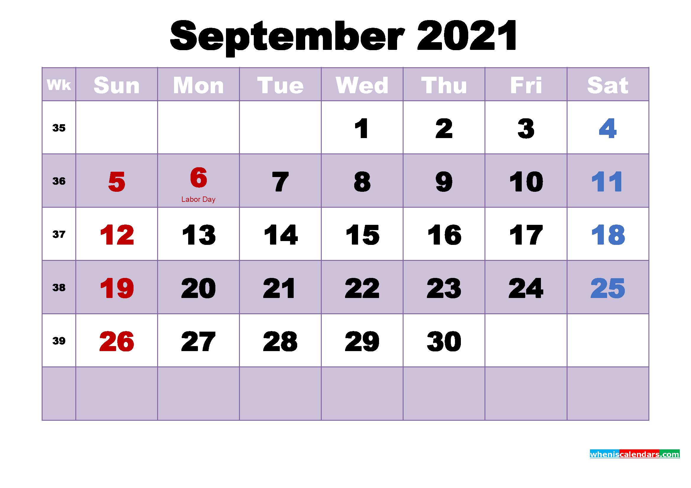Free Printable September 2021 Calendar Word