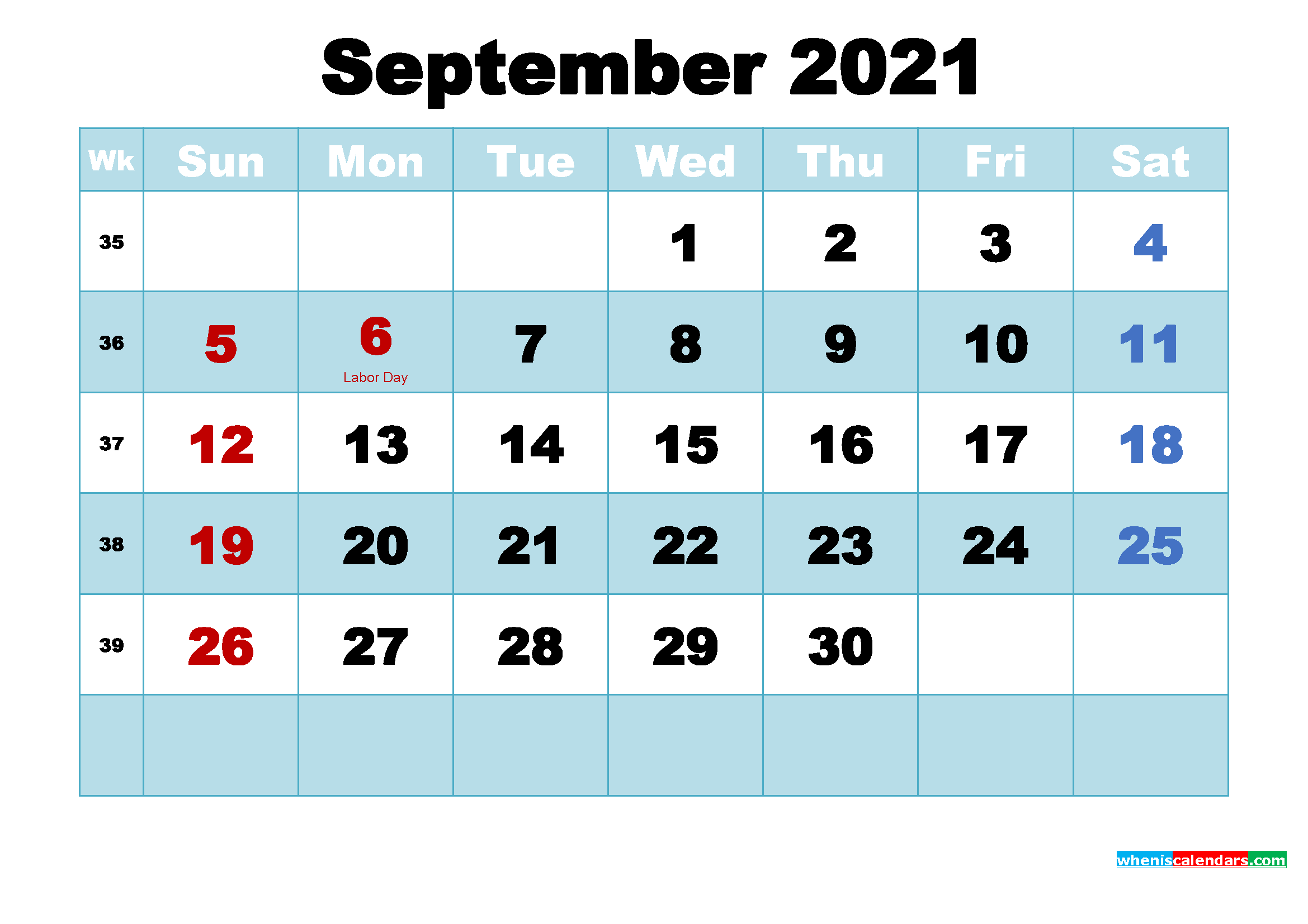 Free Printable 2021 Calendar with Holidays September
