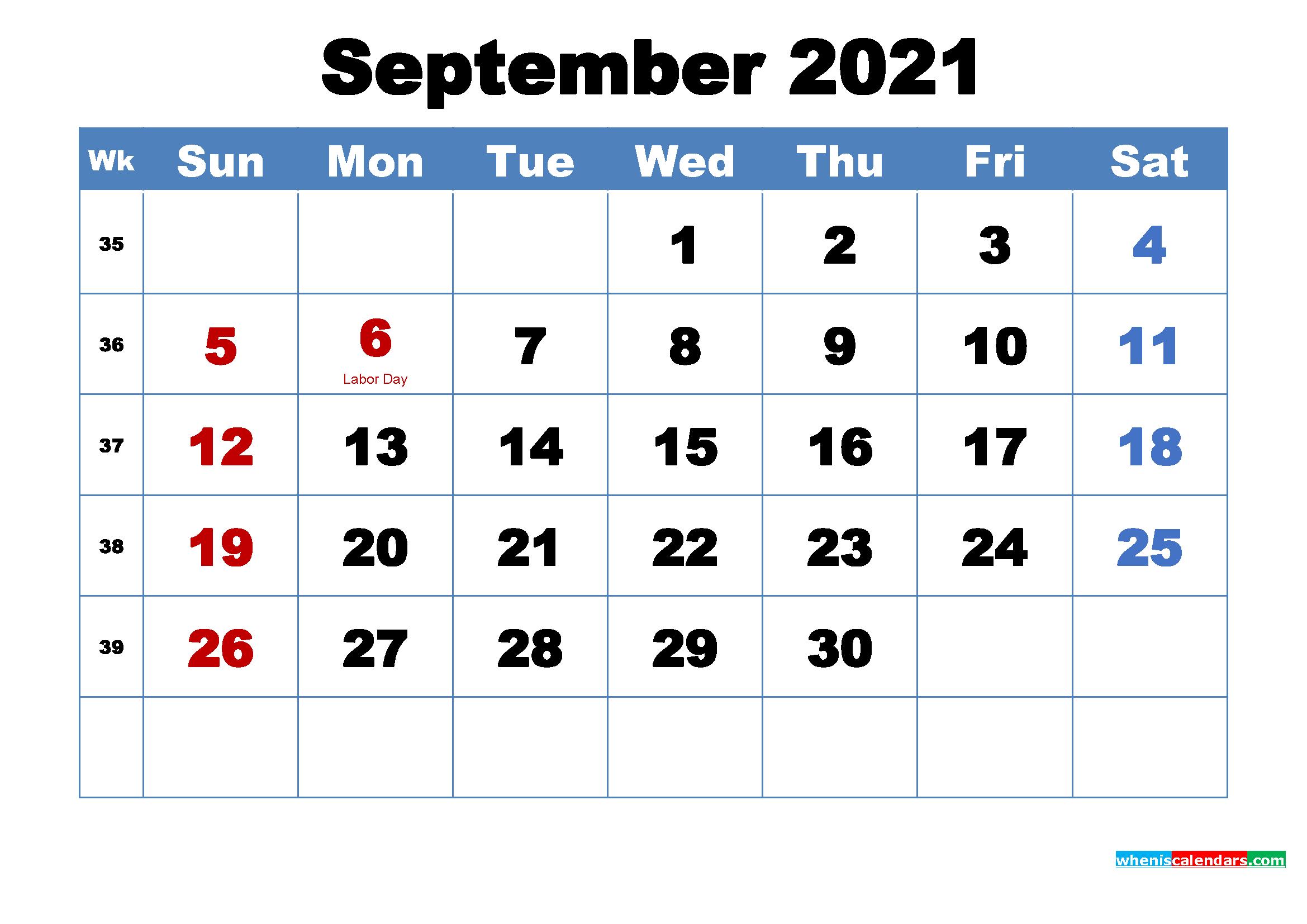 September 2021 Desktop Calendar Free Download
