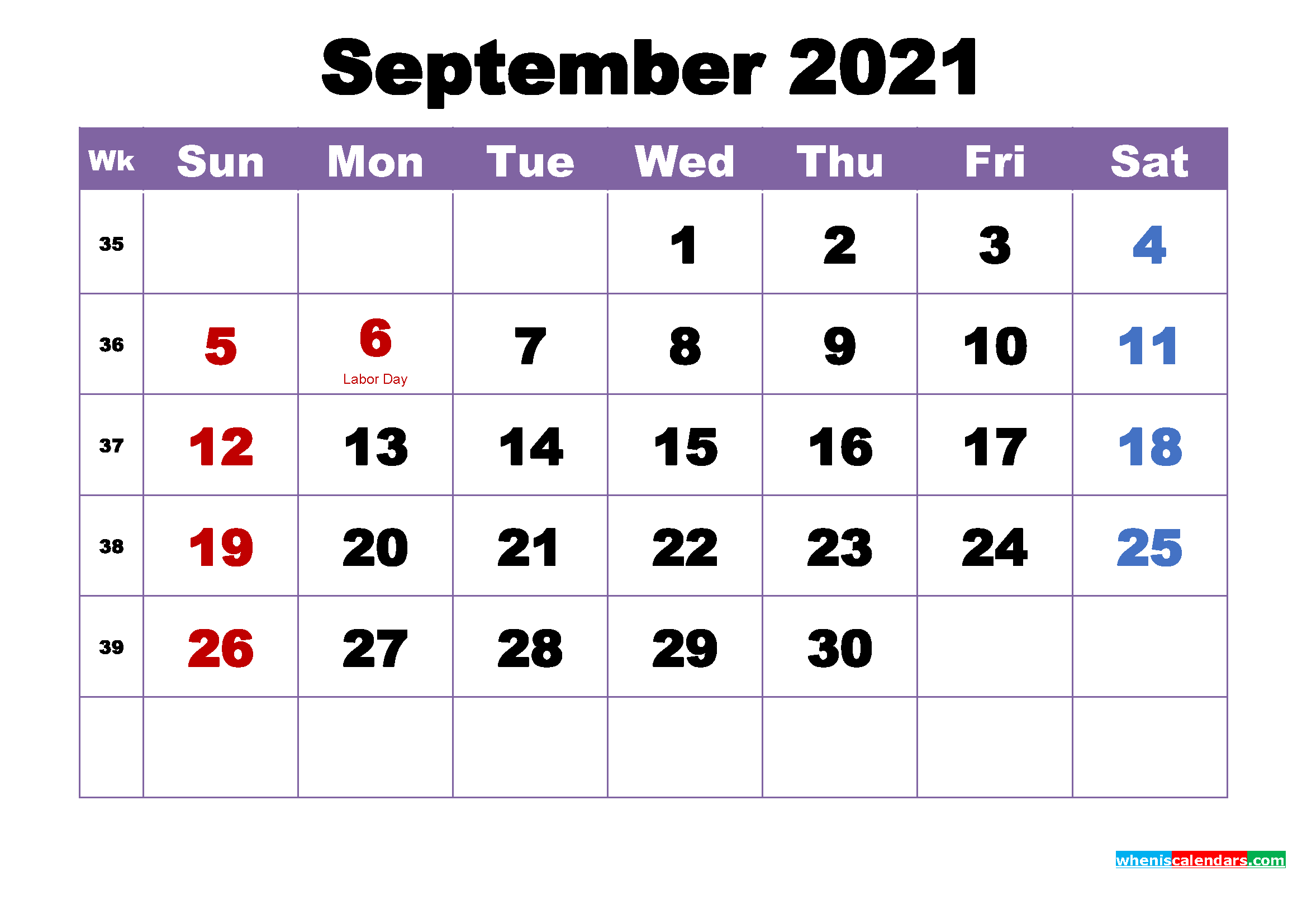 Free Printable September 2021 Calendar Wallpaper