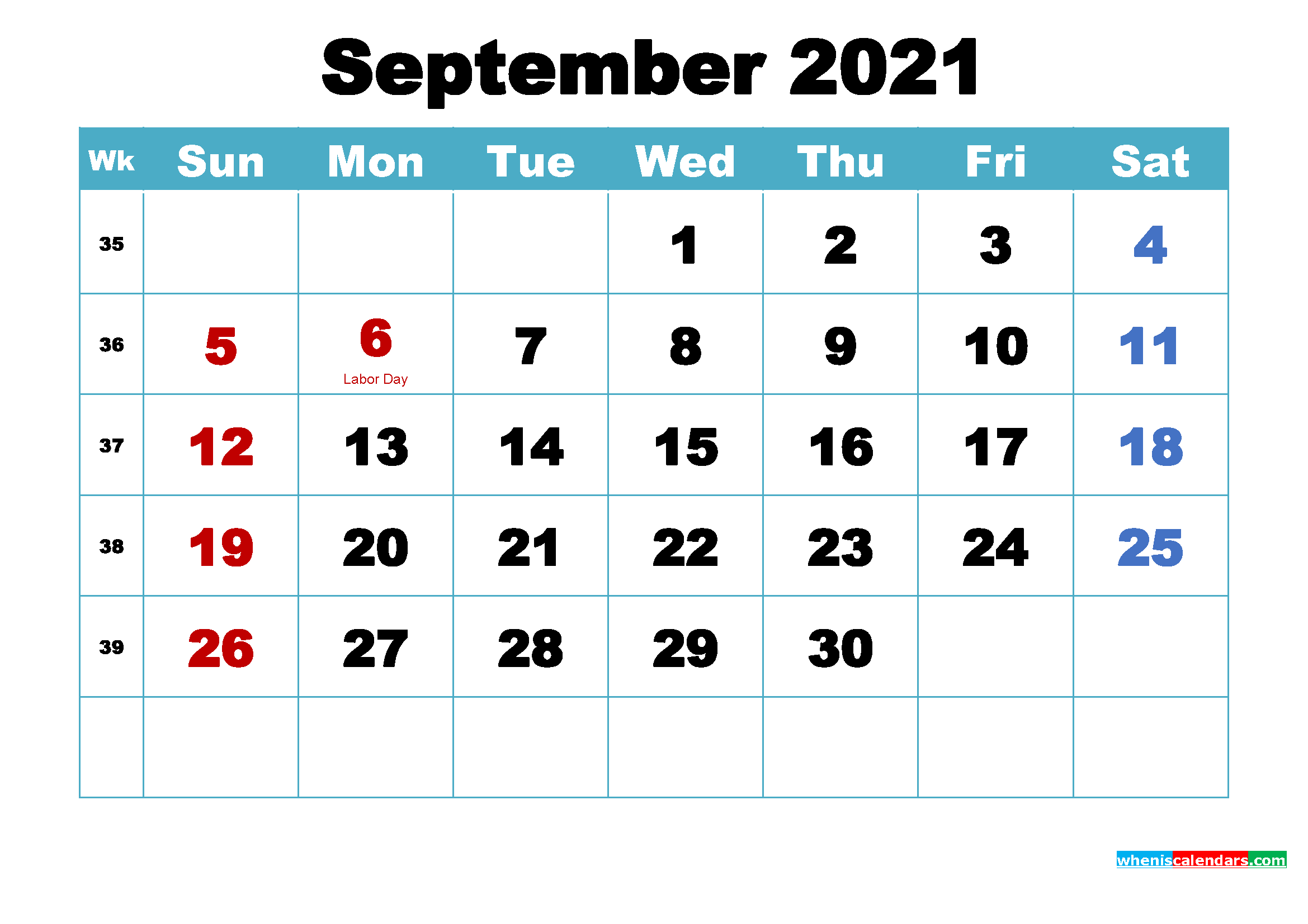Free Printable 2021 Calendar September as Word, PDF