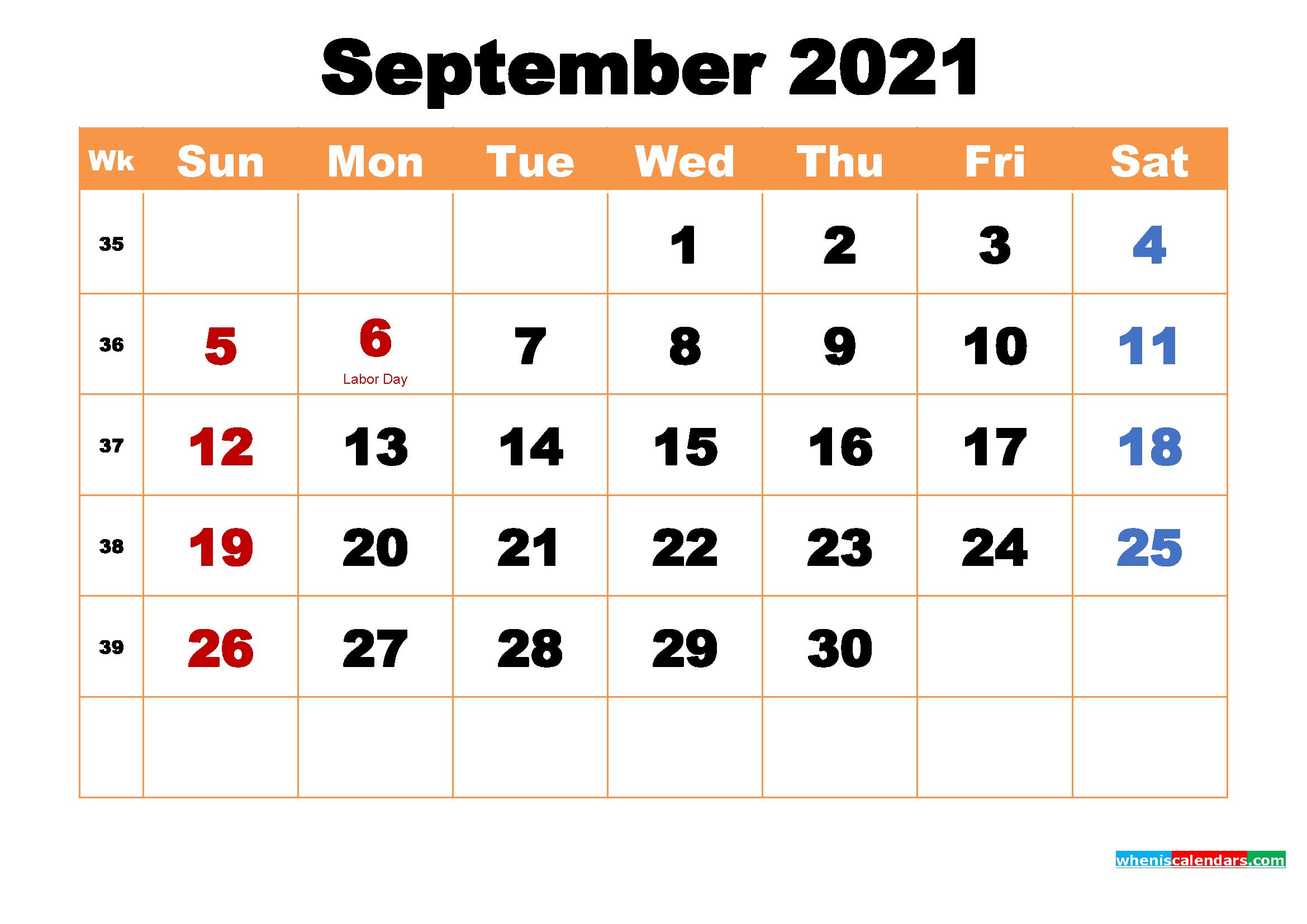 Printable Calendar for September 2021