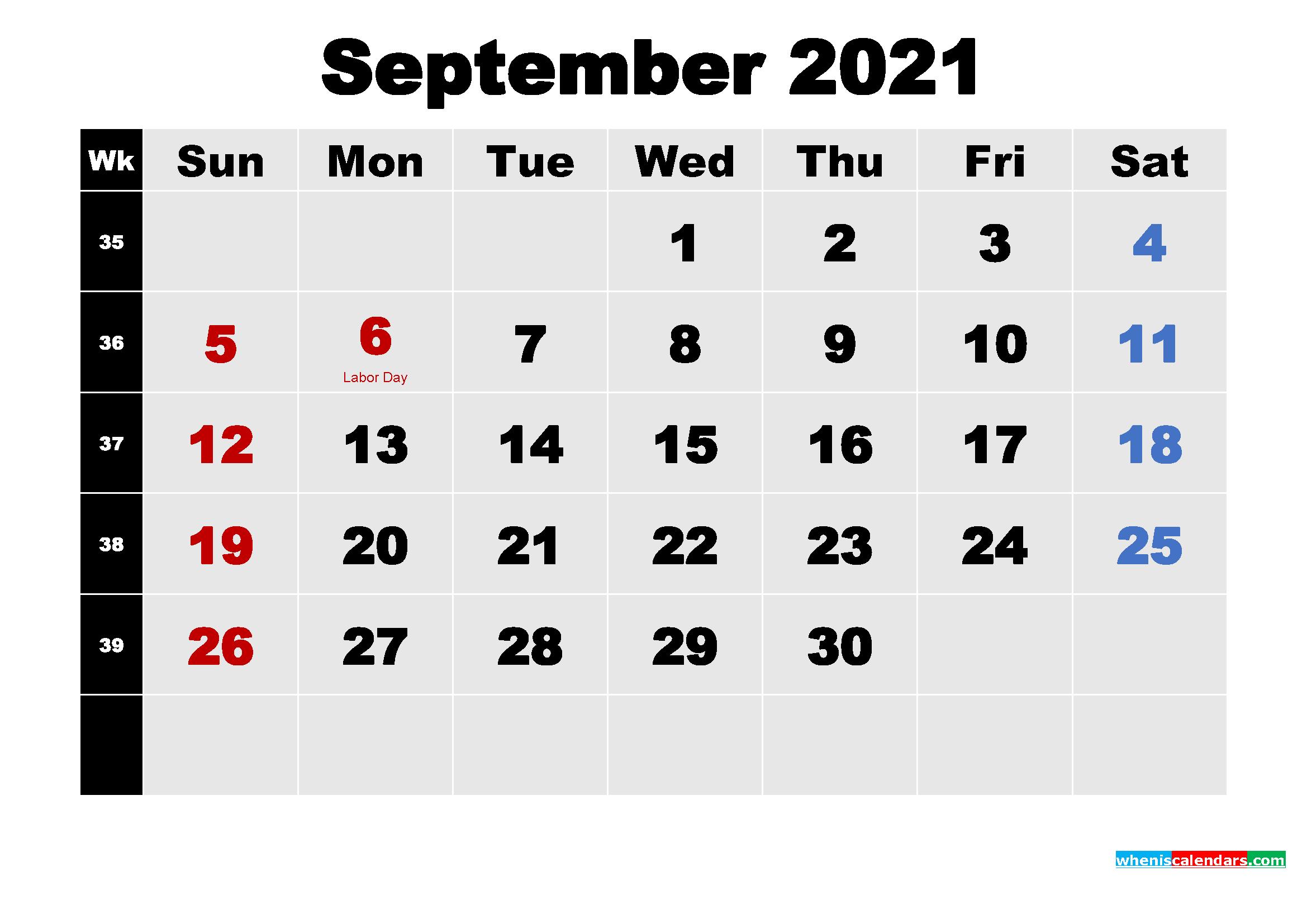 September 2021 Desktop Calendar High Resolution
