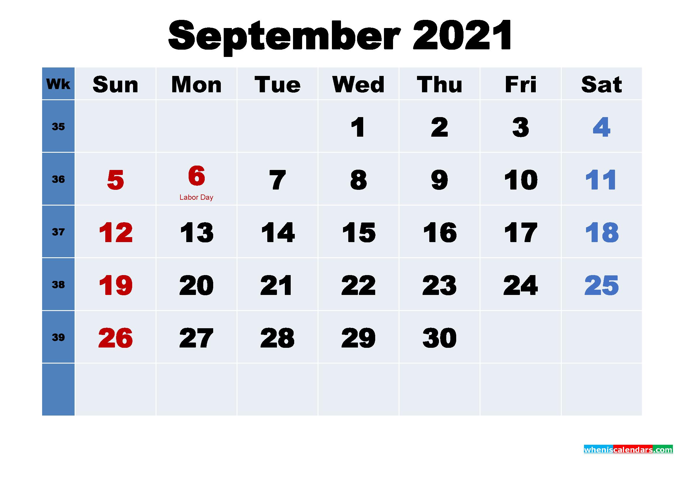 Free Printable September 2021 Calendar Wallpaper