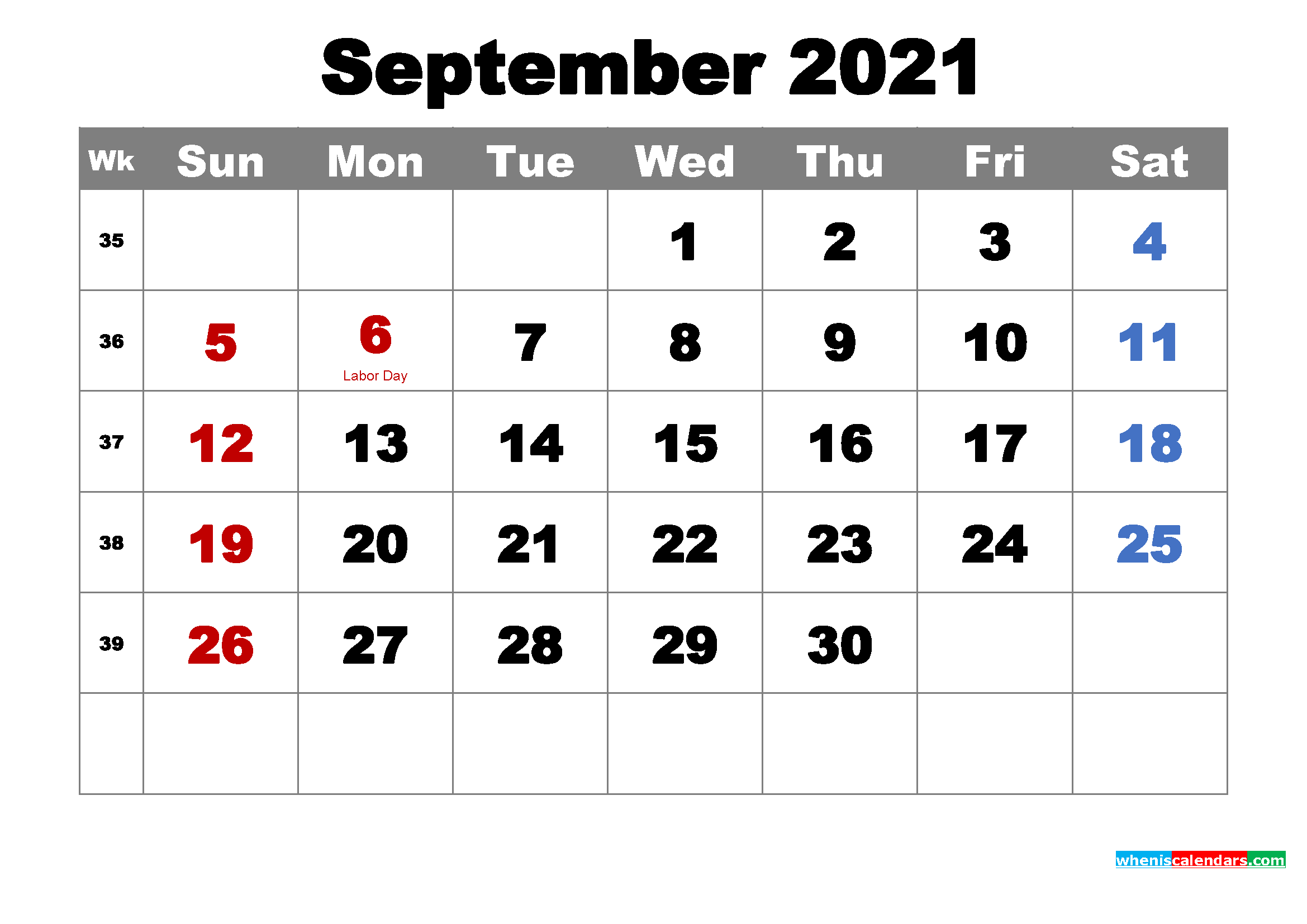 Printable Calendar September 2021 with Holidays as Word, PDF