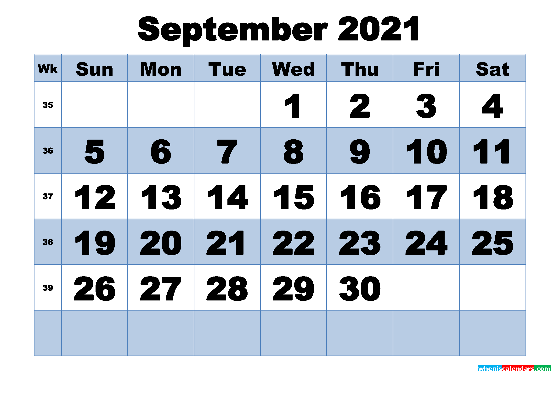 Free Printable September 2021 Calendar with Week Numbers ...