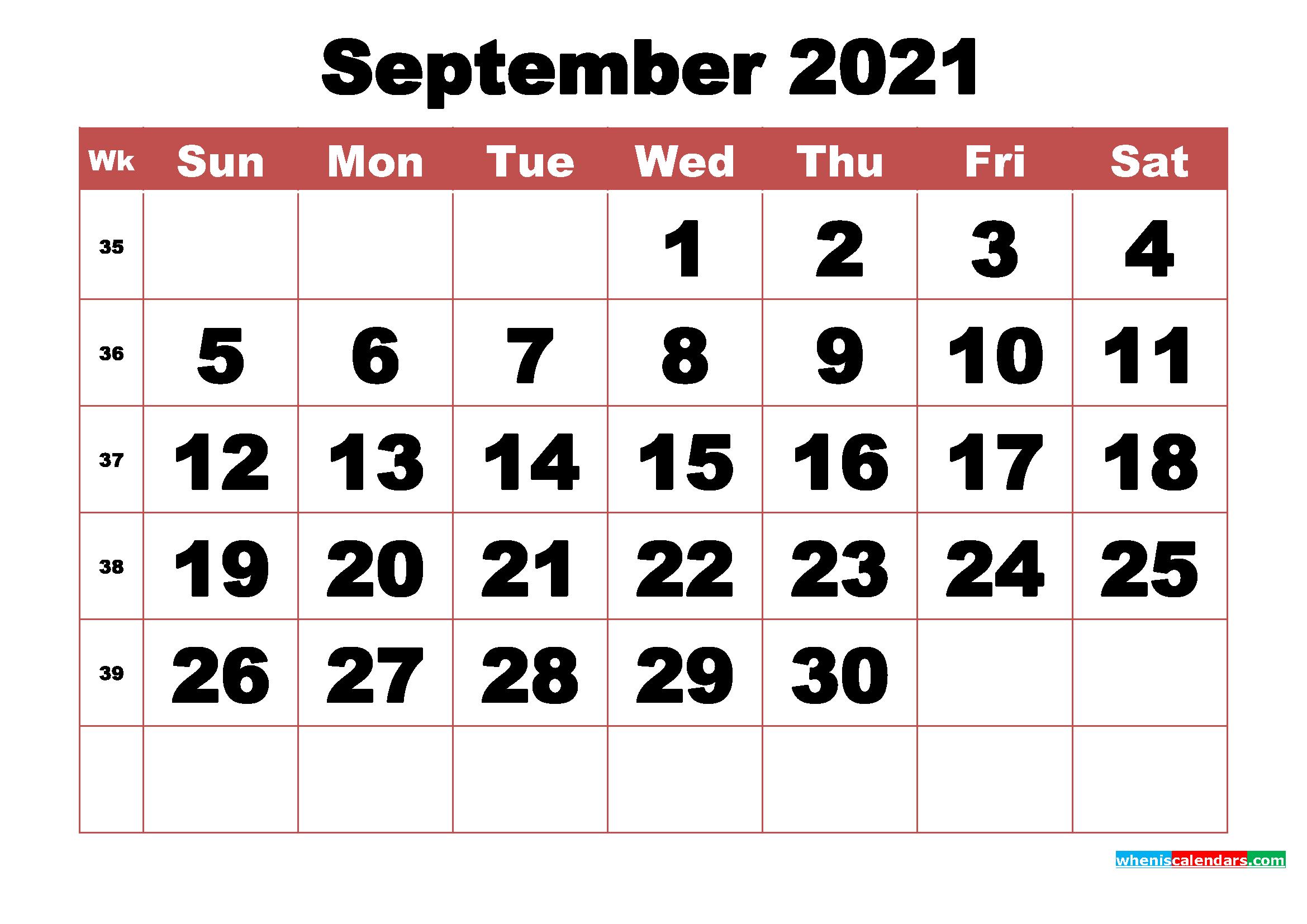 Free Printable September 2021 Calendar with Week Numbers ...