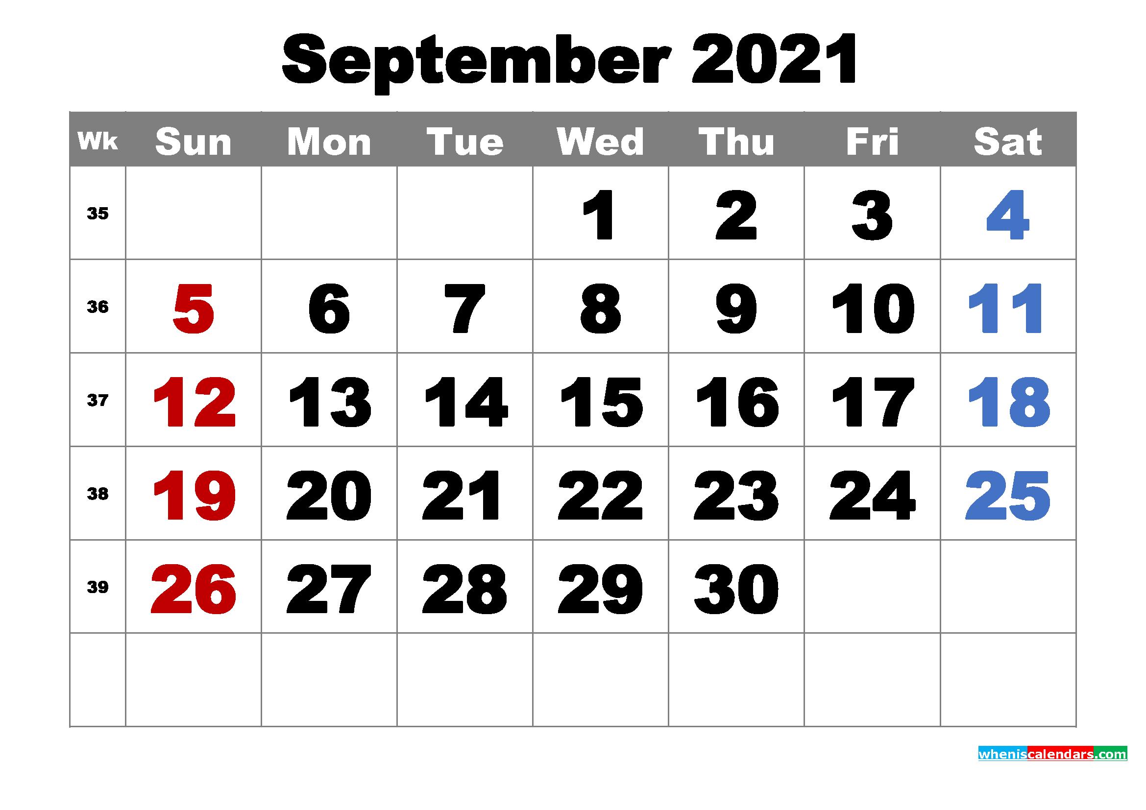 Free Printable September 2021 Calendar Word, PDF, Image ...