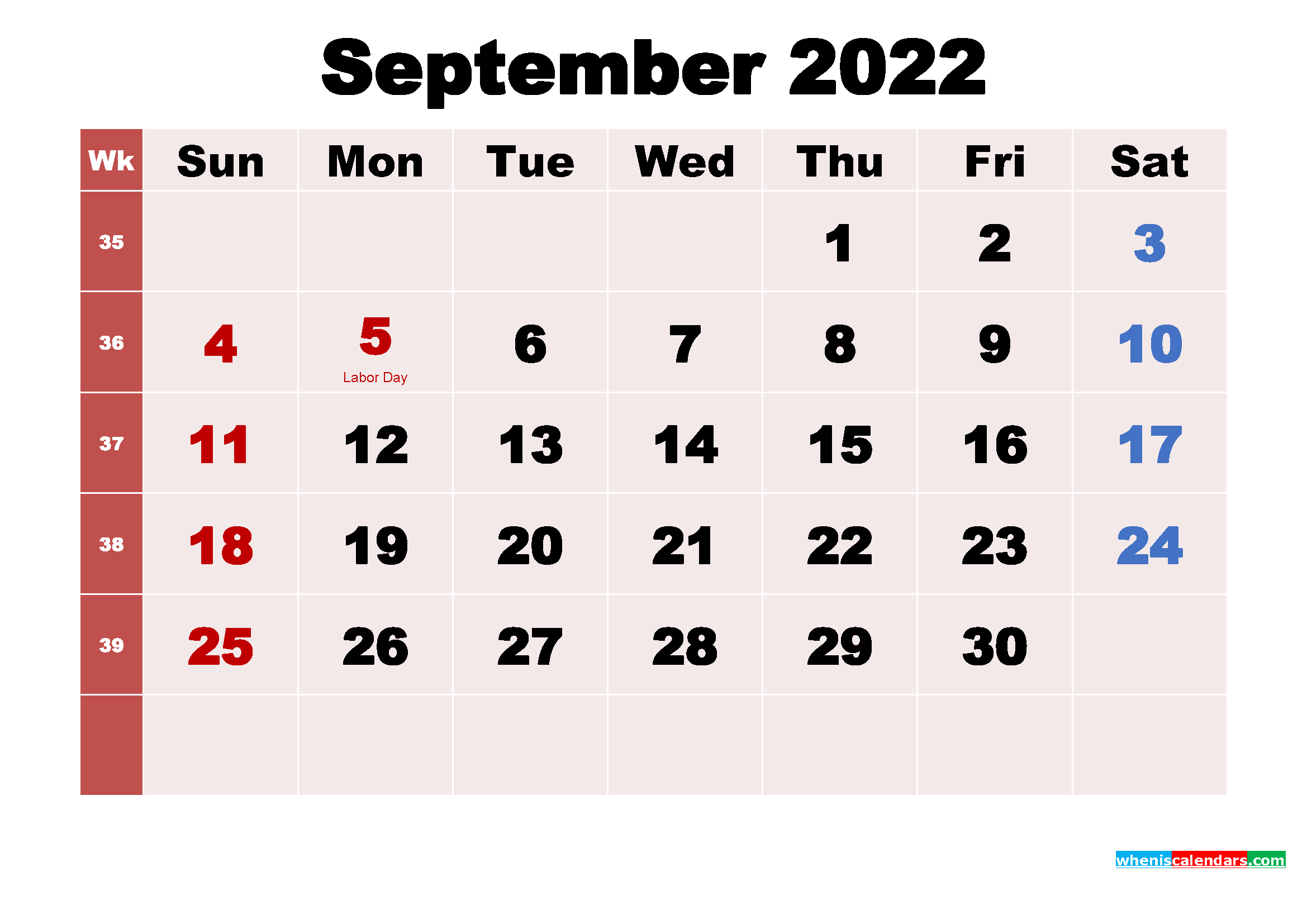 September 2022 Desktop Calendar Monthly