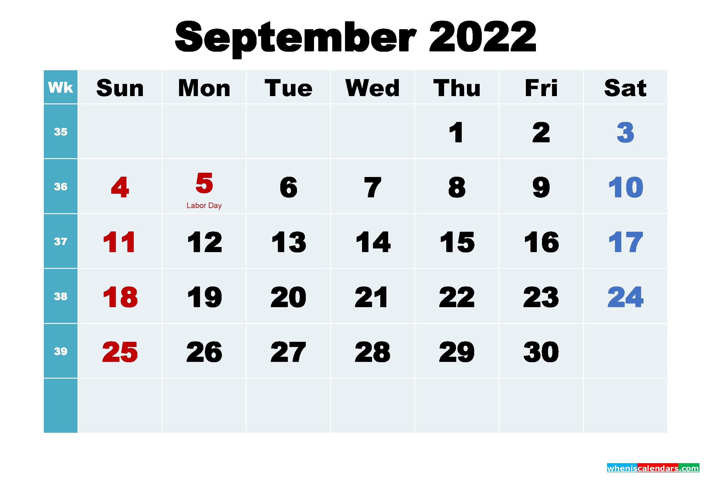 Printable 2022 Calendar with Holidays September
