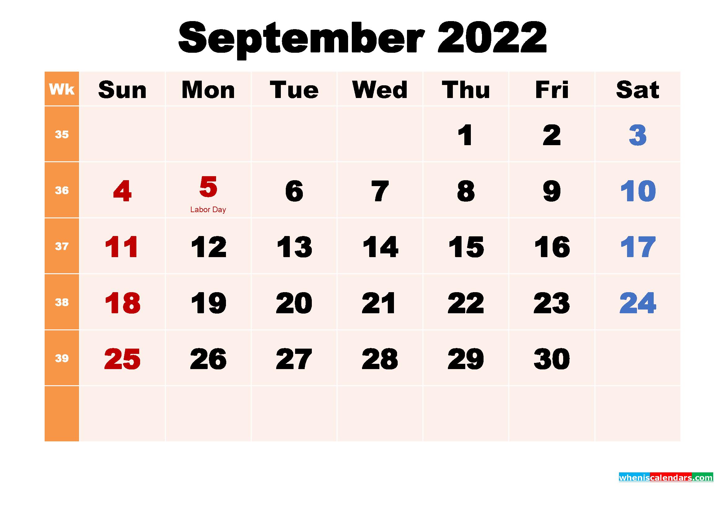 September 2022 Desktop Calendar with Holidays