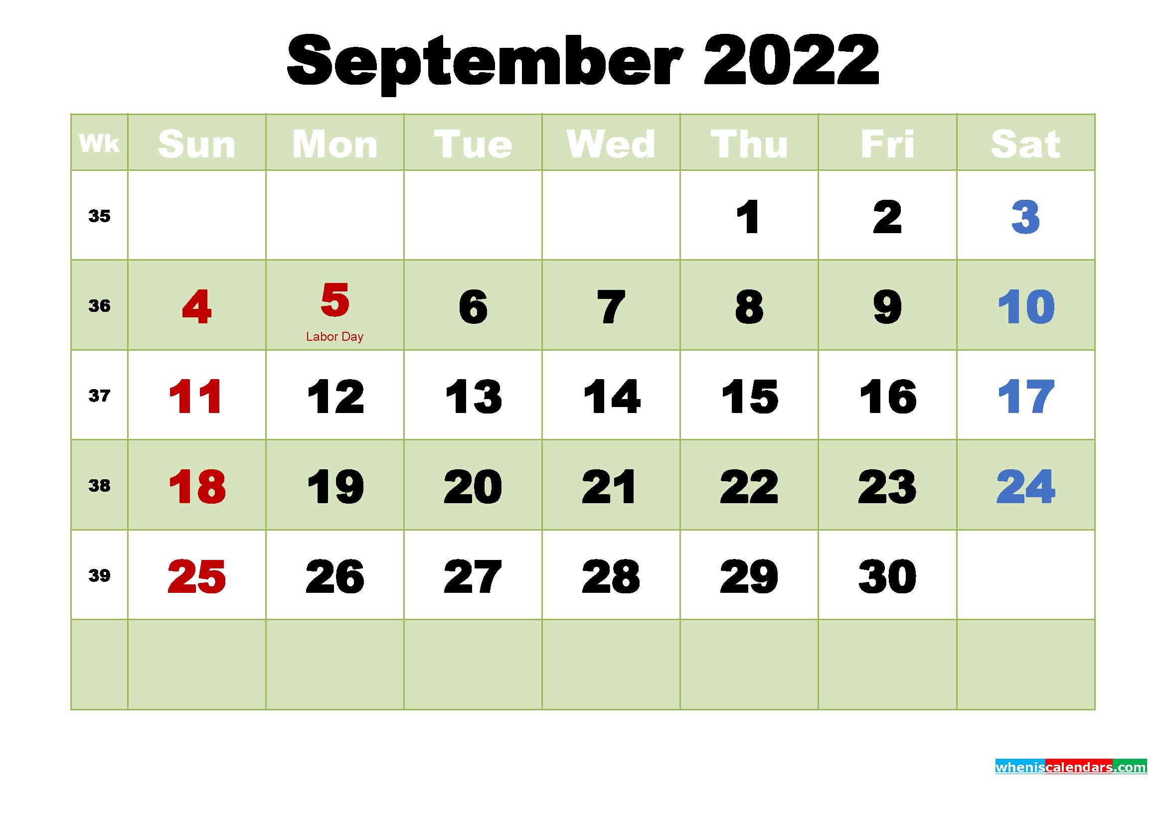September 2022 Desktop Calendar Free Download