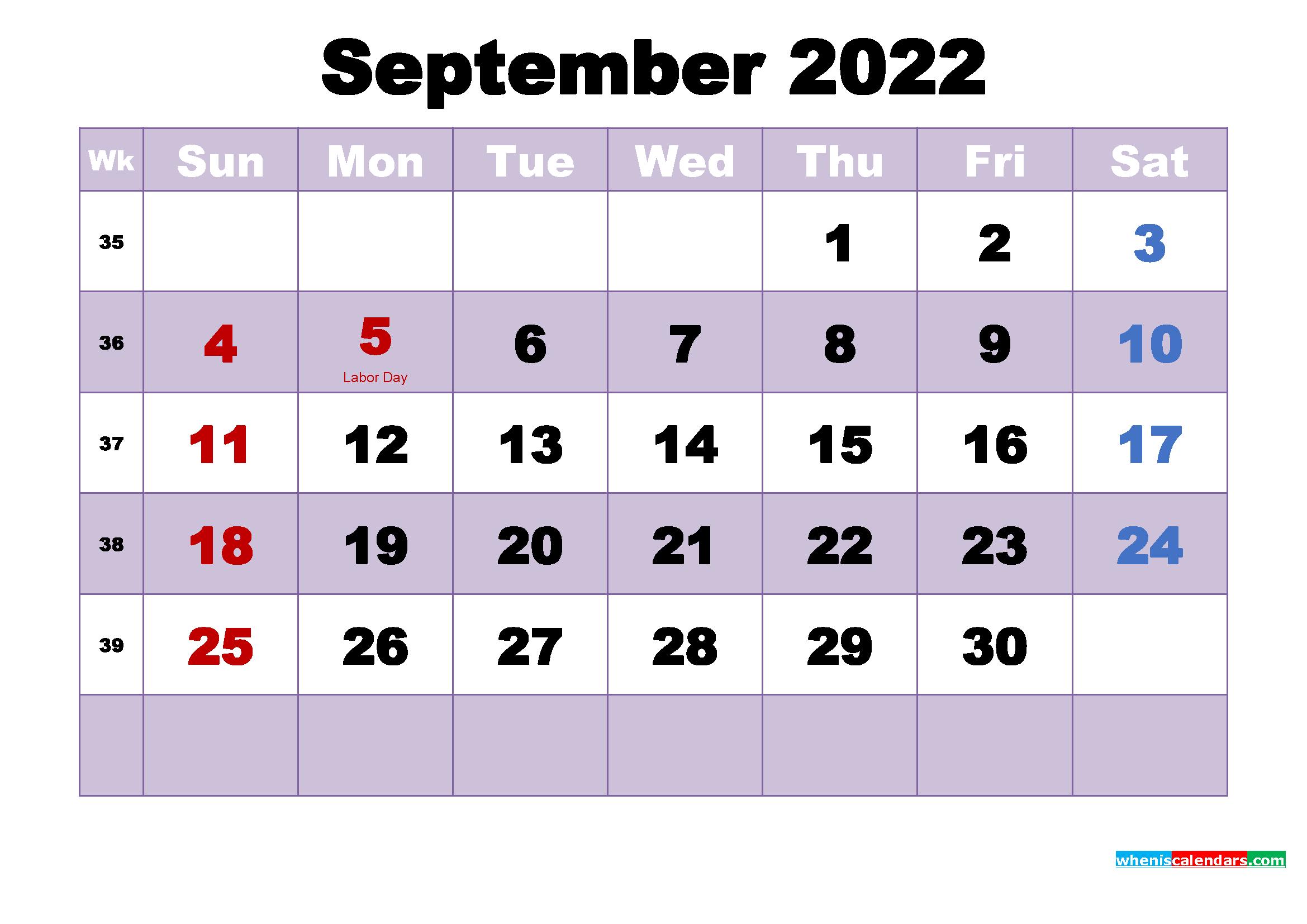 September 2022 Desktop Calendar High Resolution