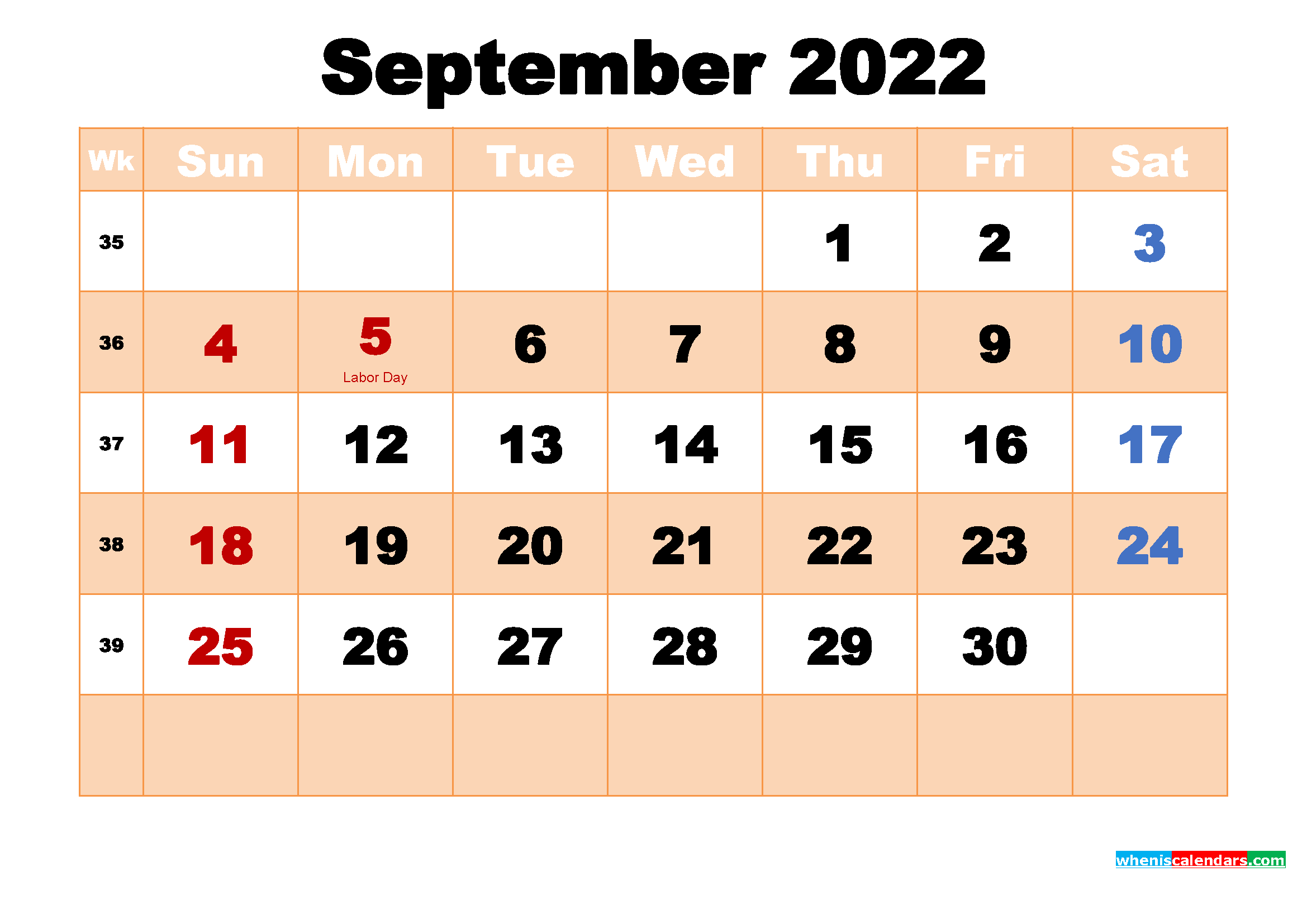 Free Printable 2022 Monthly Calendar with Holidays September