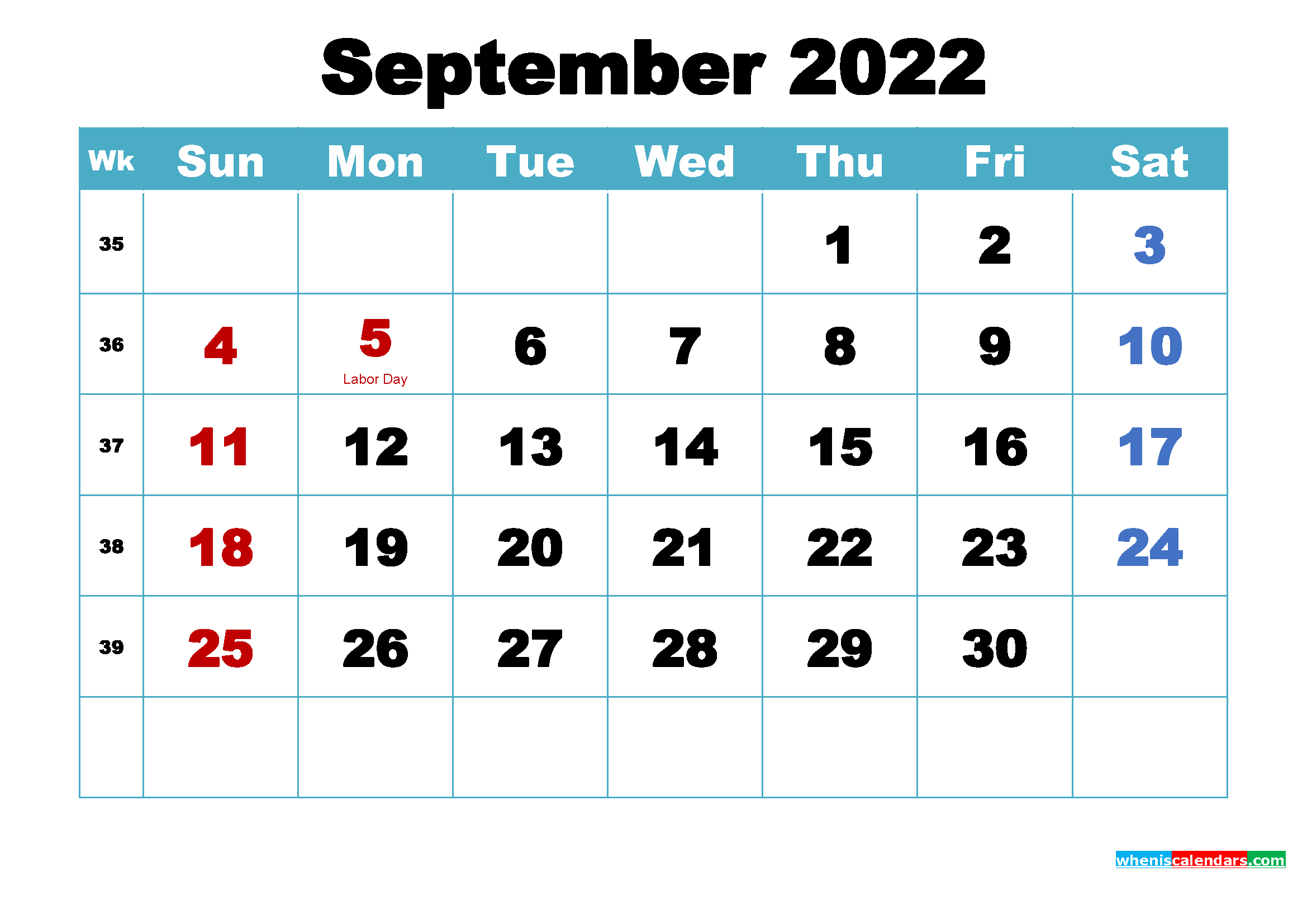 Printable September 2022 Calendar Word