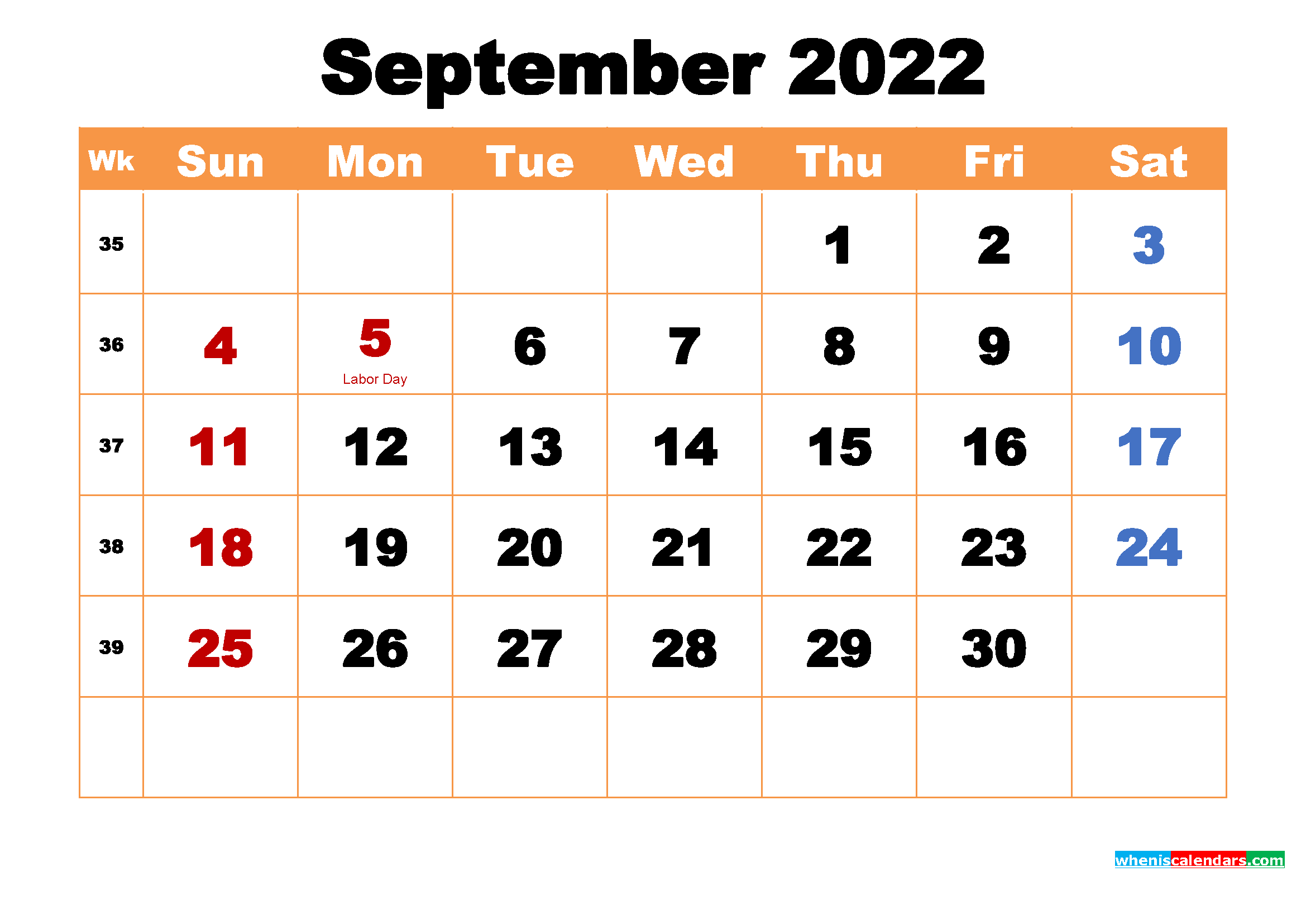 Printable Calendar for September 2022
