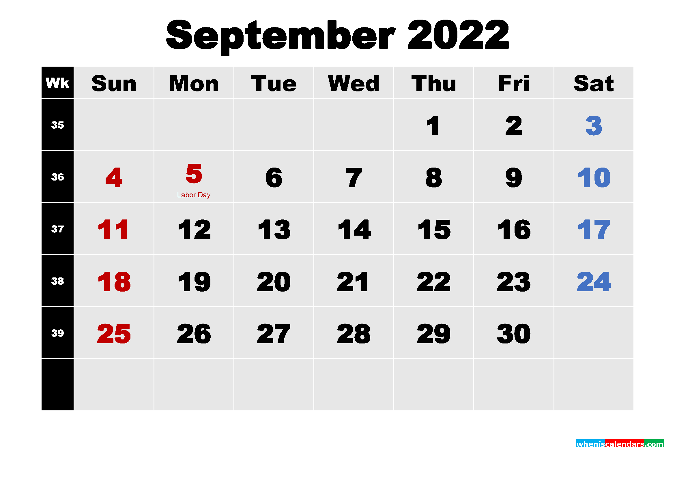 Printable 2022 Calendar with Holidays September