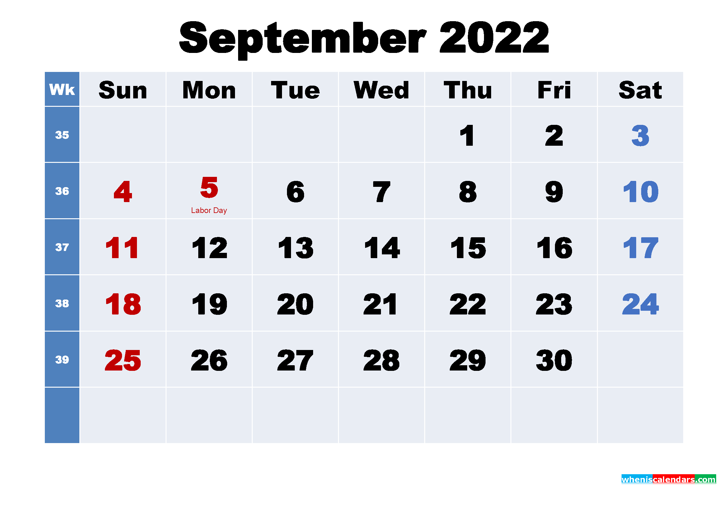 Free Printable 2022 Calendar with Holidays September