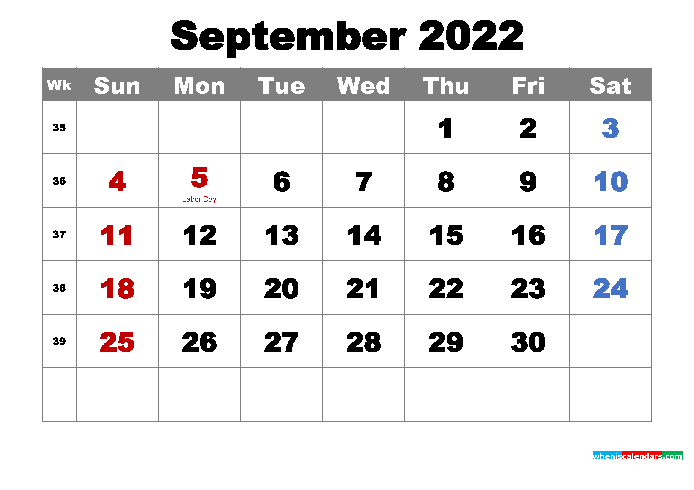 Printable Calendar September 2022 with Holidays as Word, PDF