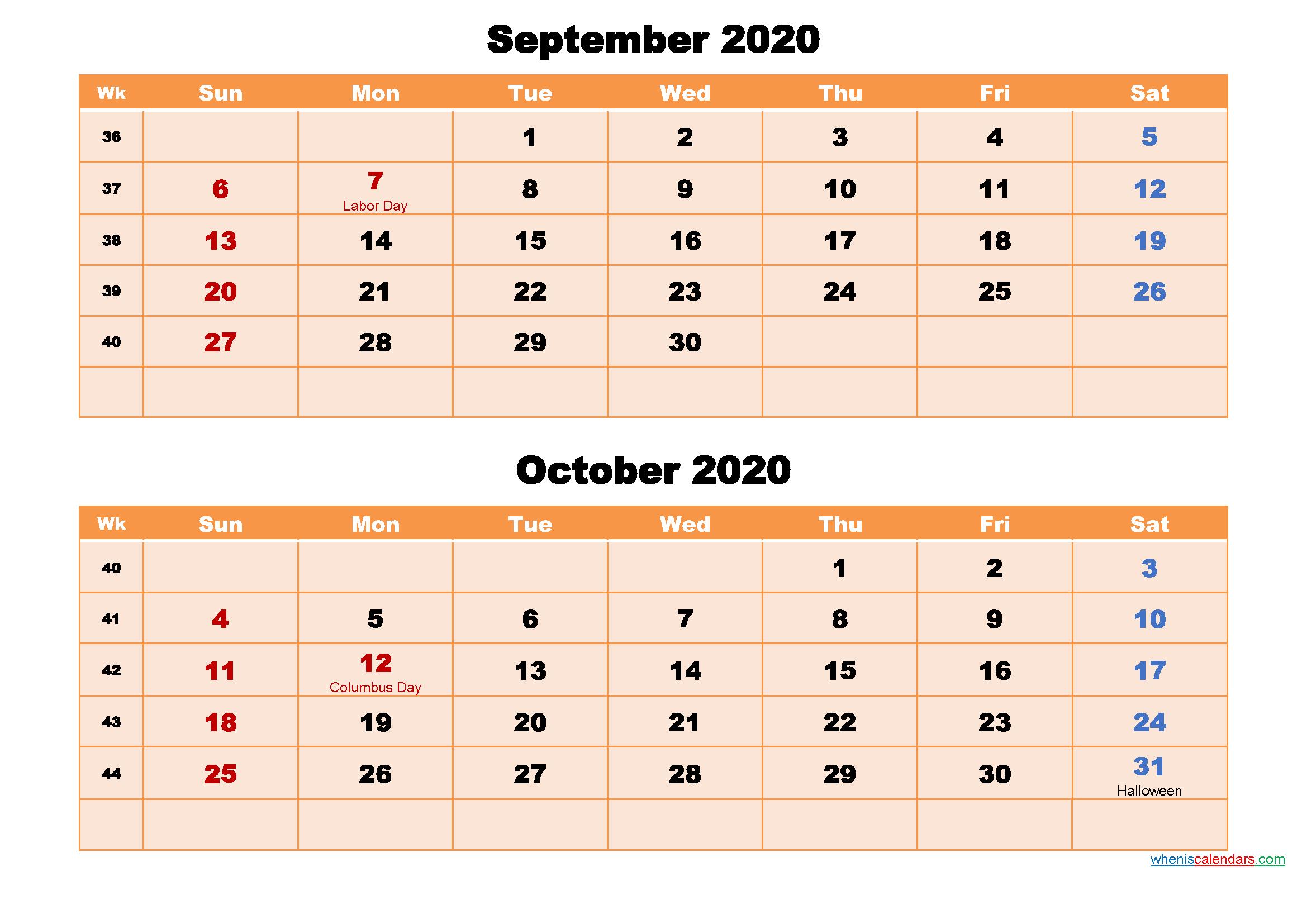 Calendar for September and October 2020 Word, PDF