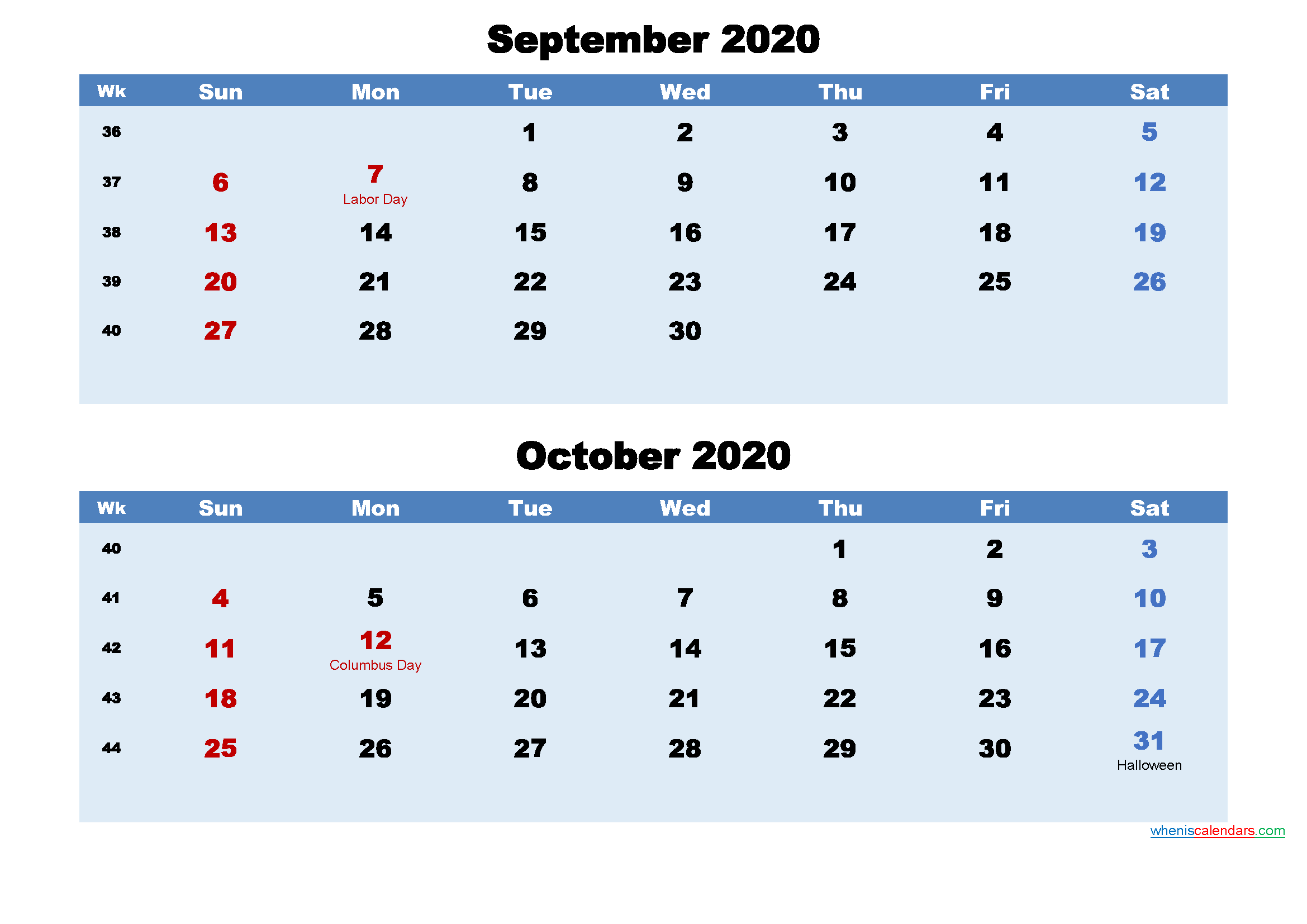 Printable Calendar September and October 2020 Word, PDF