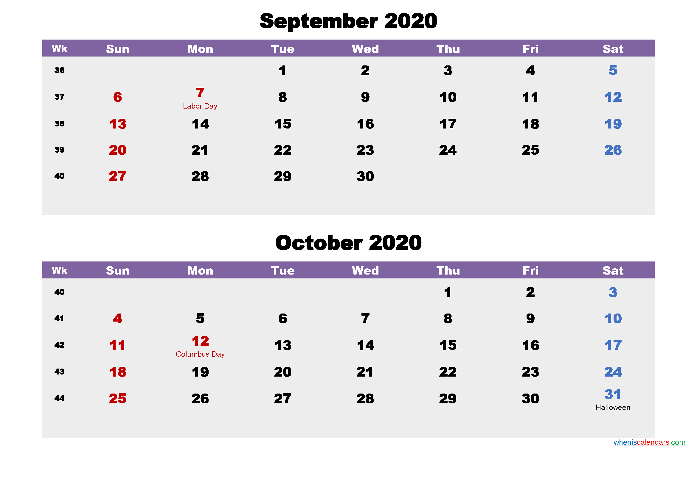 Calendar for September and October 2020 Word, PDF
