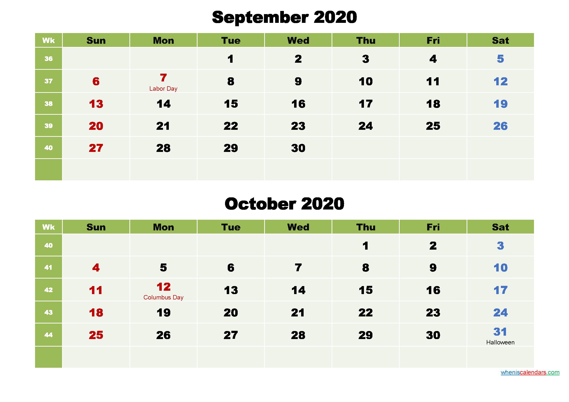 Printable Calendar September and October 2020 Word, PDF