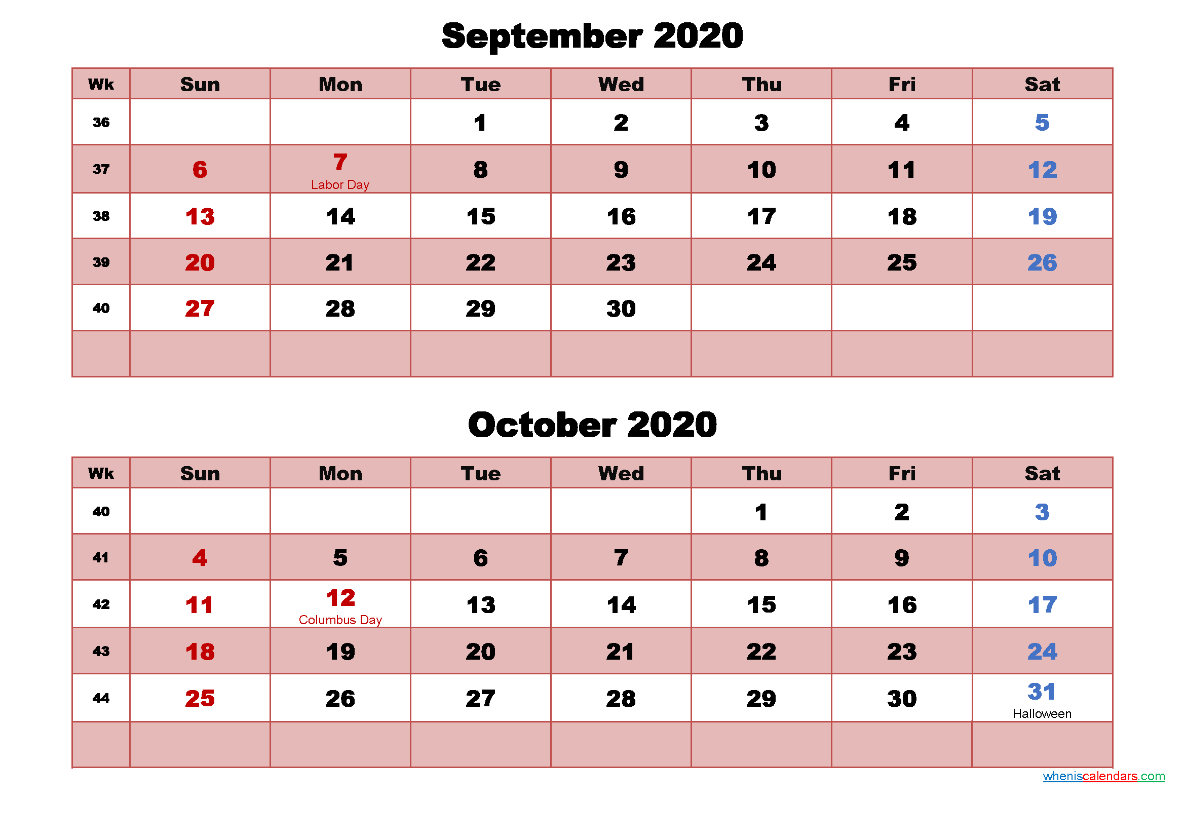 September and October Calendar 2020 Printable Word, PDF