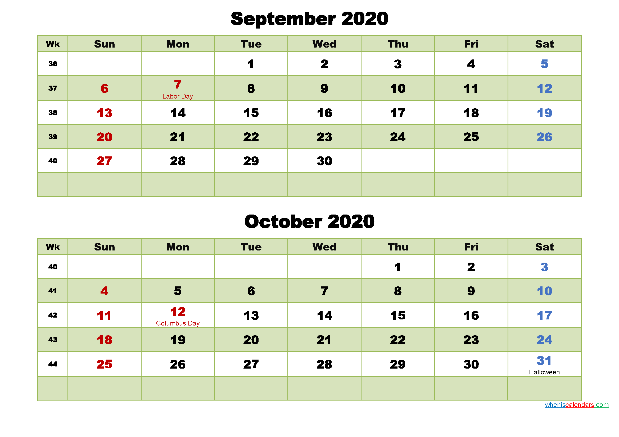 September and October 2020 Calendar with Holidays