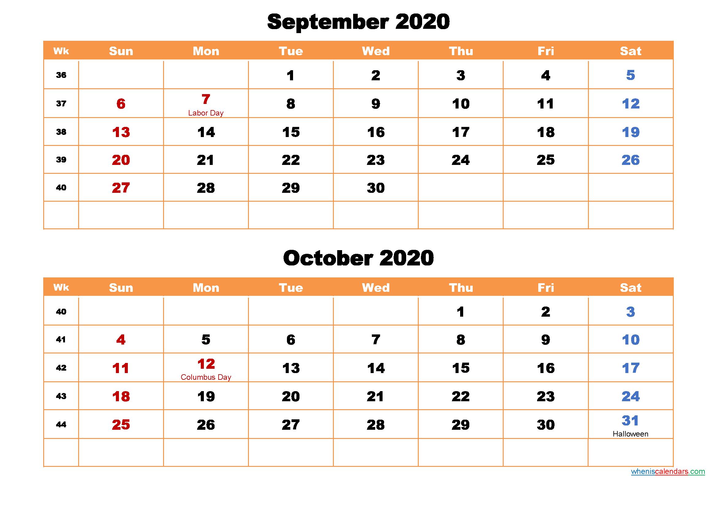 September and October Calendar 2020 Printable Word, PDF