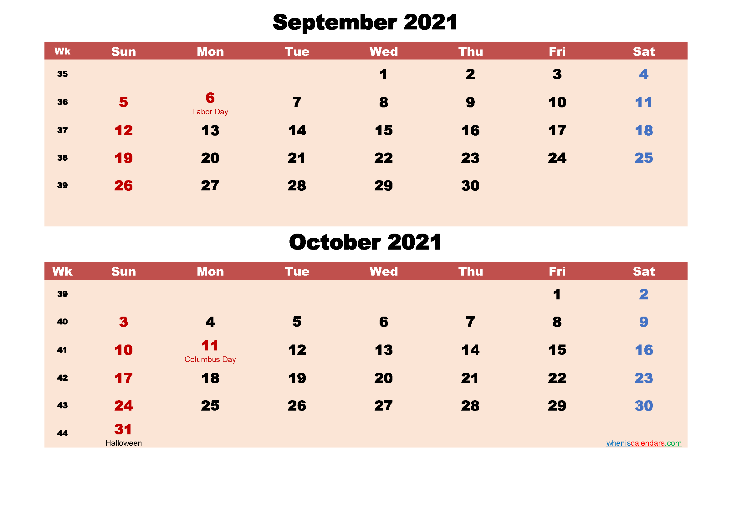 September and October Calendar 2021 Printable Word, PDF