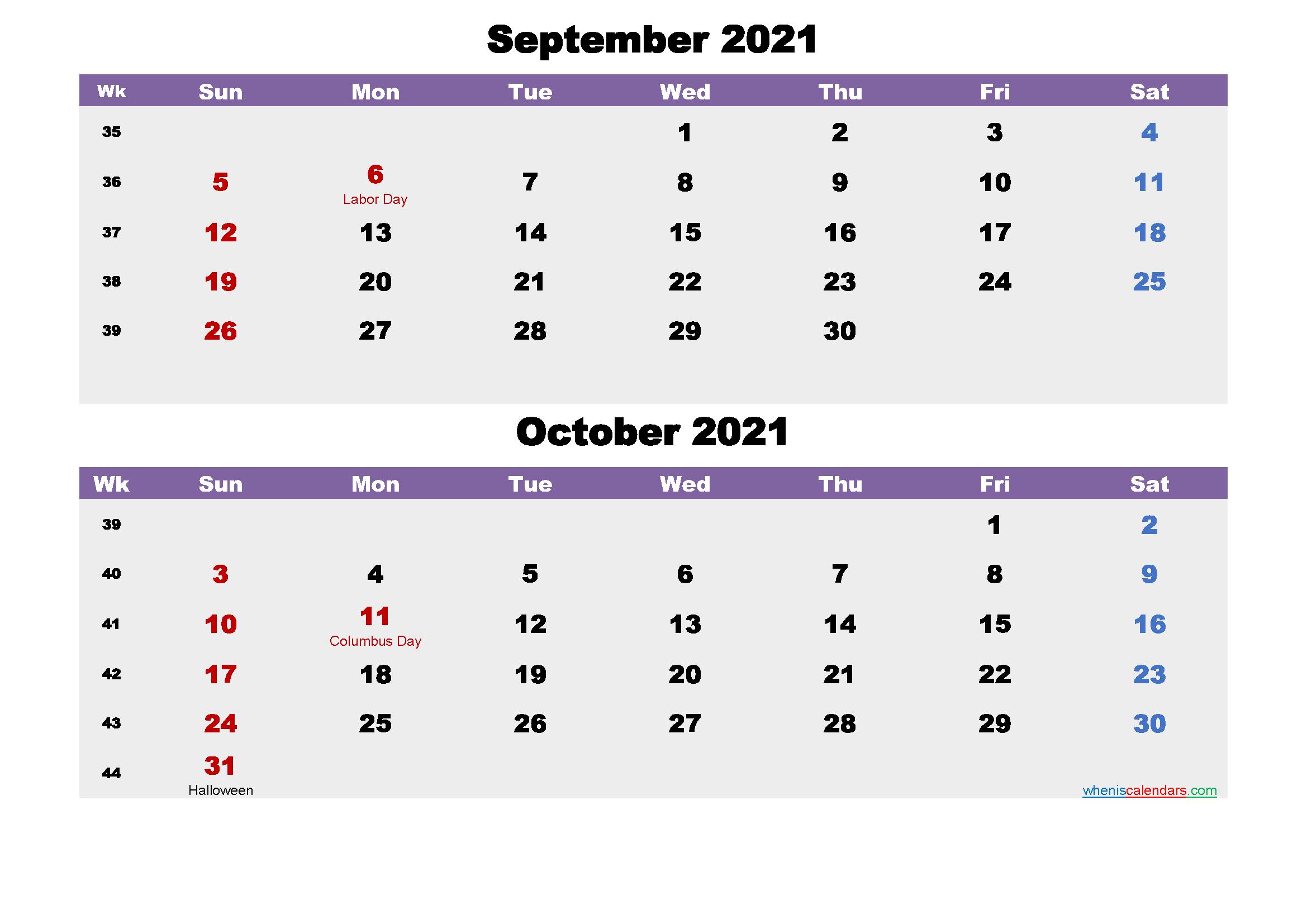 Calendar for September and October 2021 Word, PDF