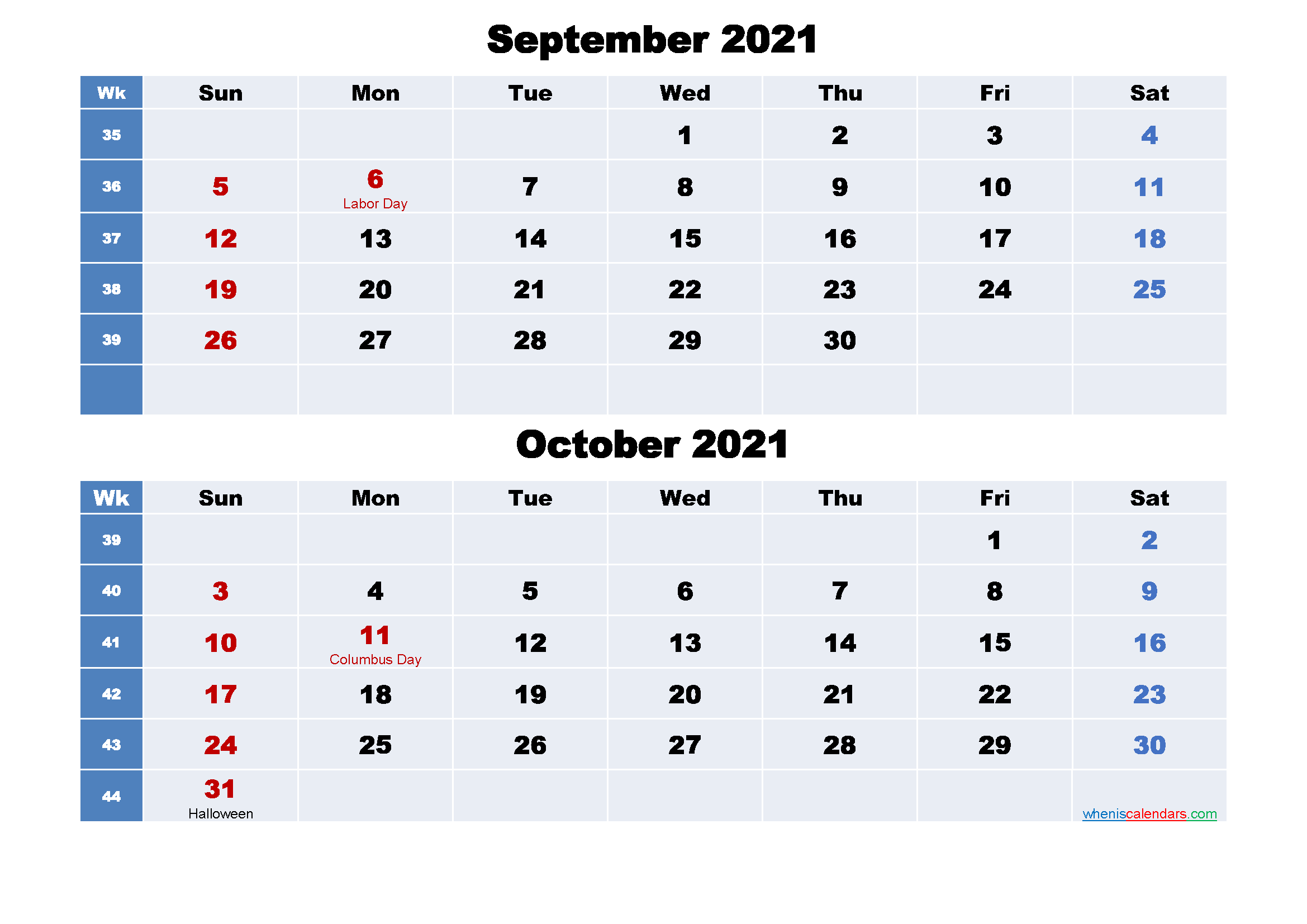 Calendar for September and October 2021 Word, PDF