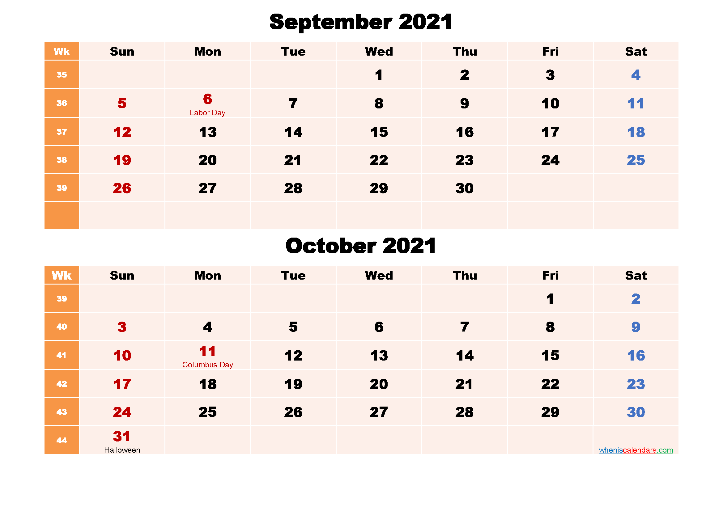 Printable Calendar September and October 2021 Word, PDF