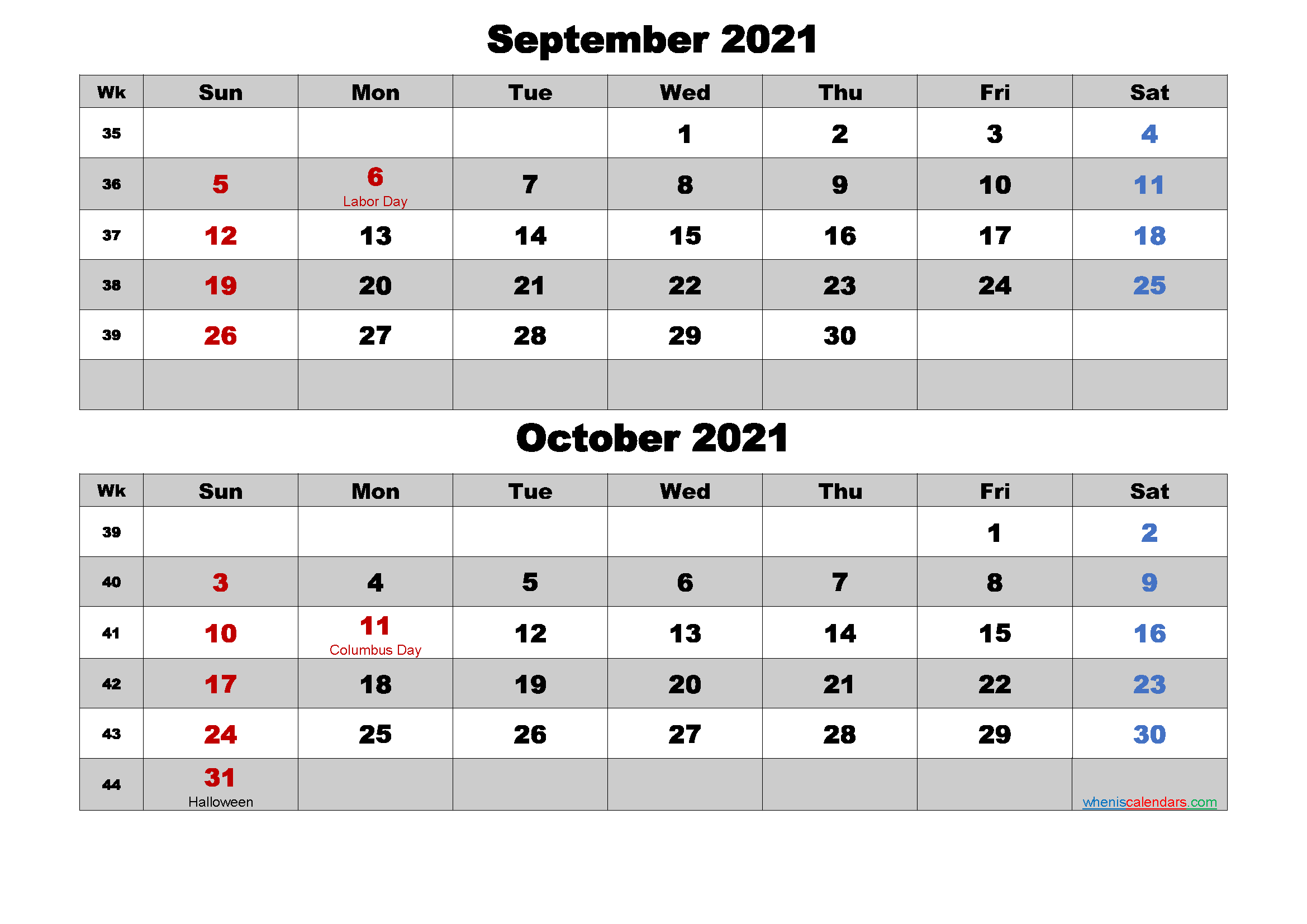 September and October 2021 Calendar with Holidays