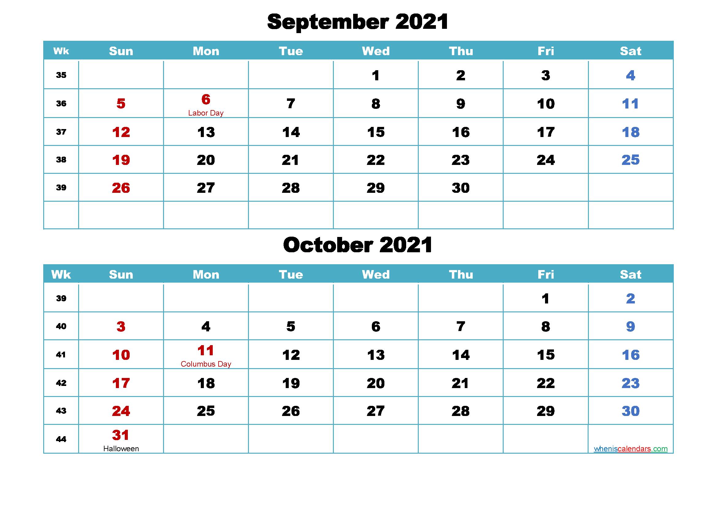 Printable Calendar September and October 2021 Word, PDF