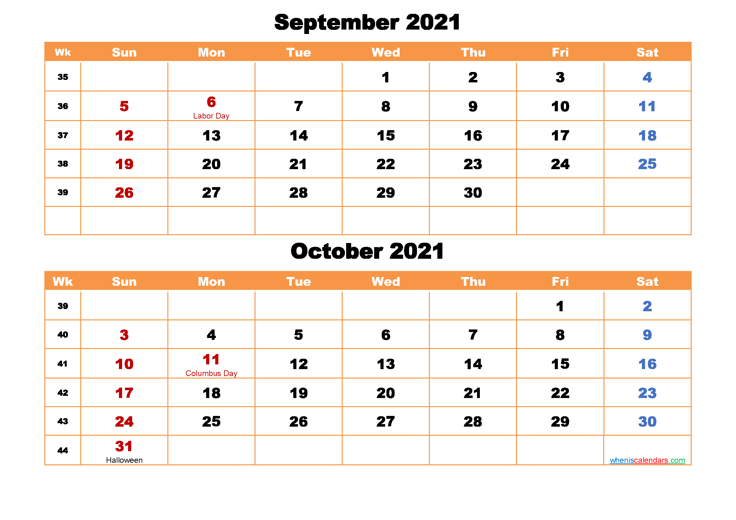 September and October Calendar 2021 Printable Word, PDF