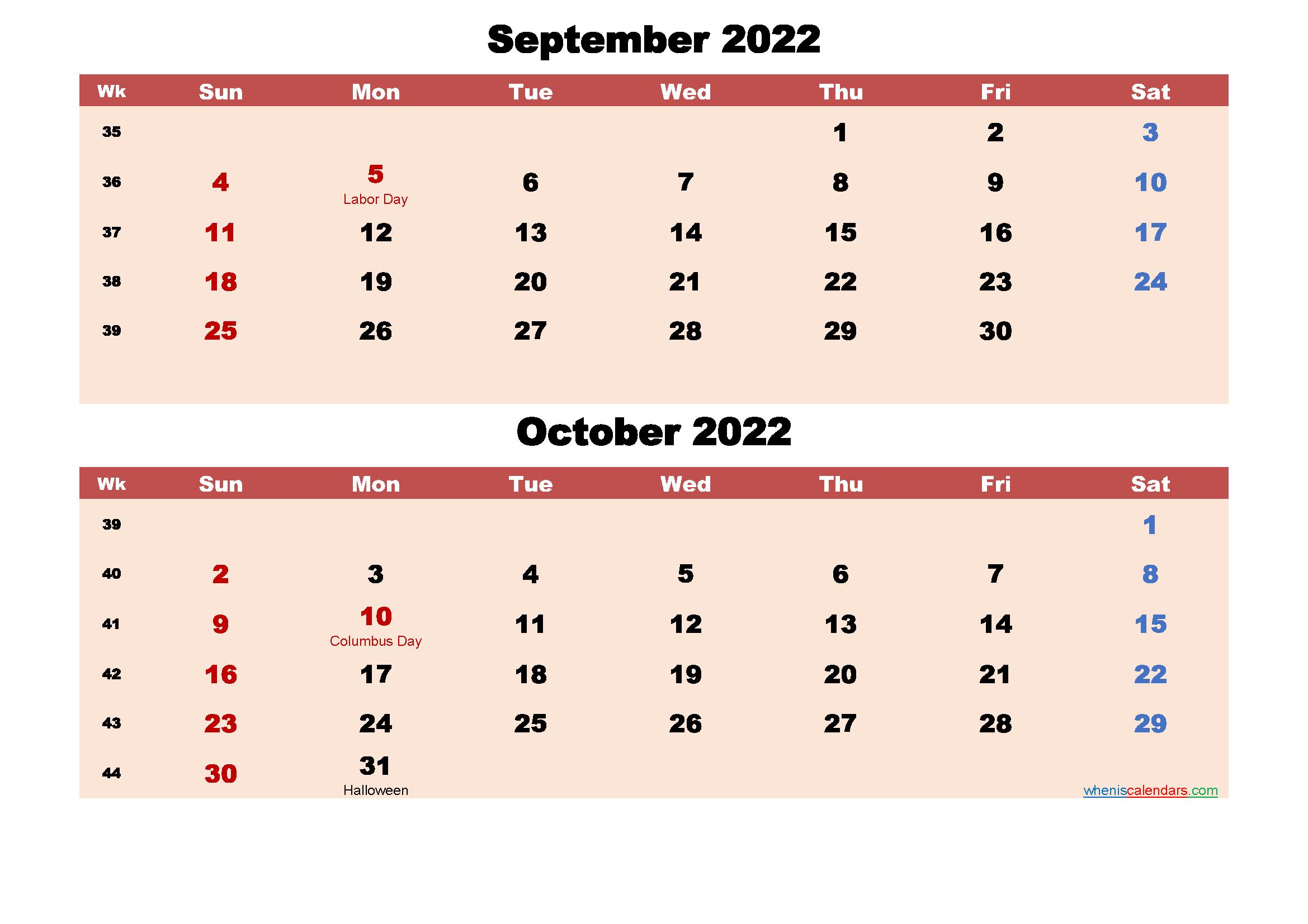 September and October Calendar 2022 Printable Word, PDF