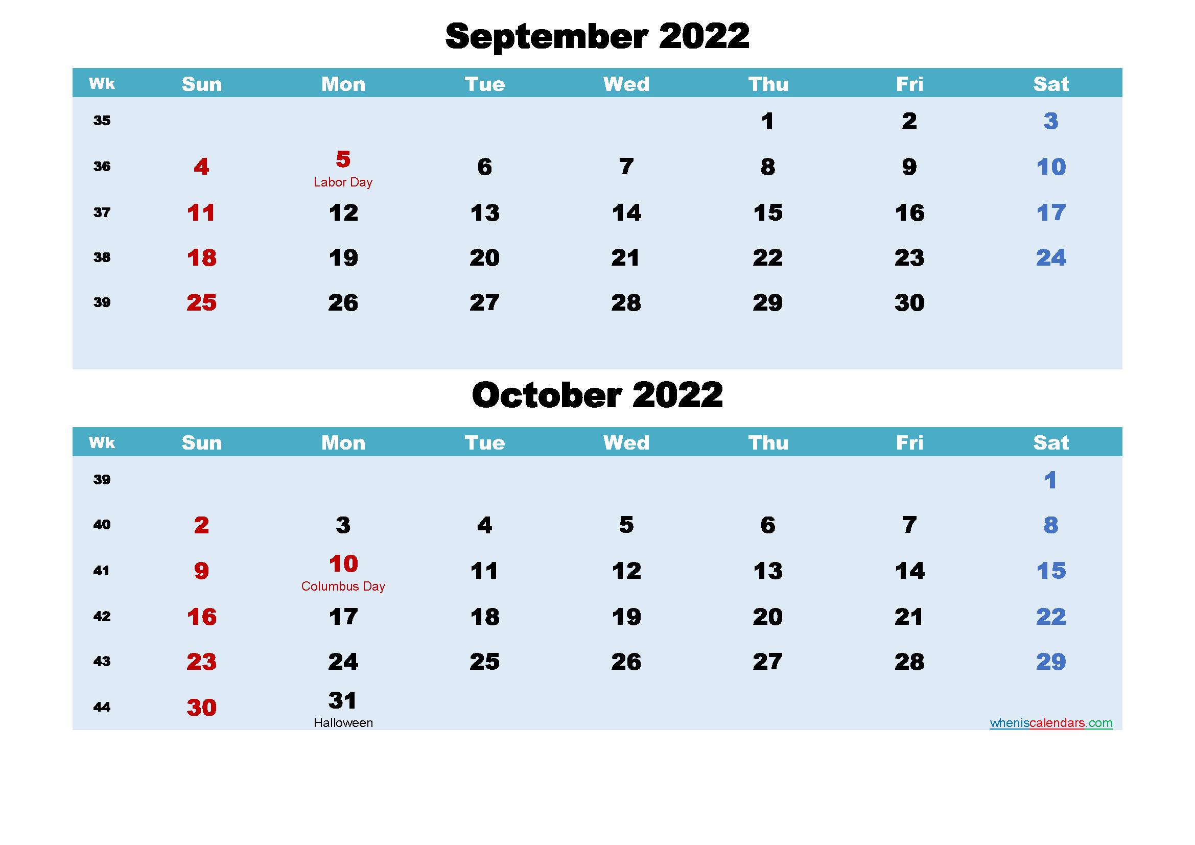 Printable Calendar September and October 2022 Word, PDF